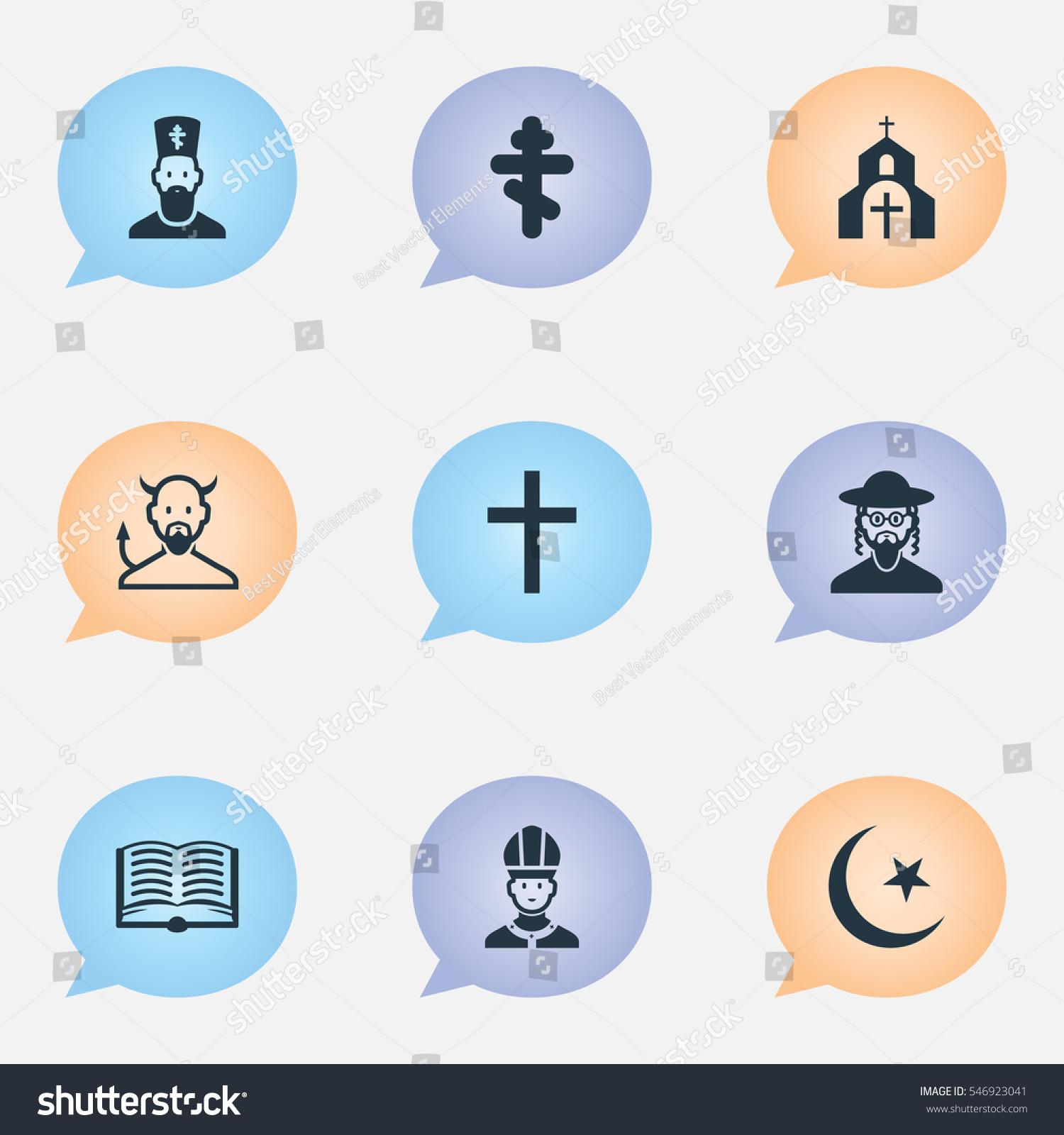Set 9 editable religion icons includes stock illustration includes symbols such as church chaplain satan biocorpaavc Choice Image