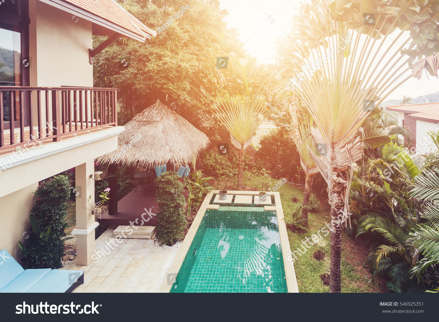 Balcony view swimming pool palm trees stock photo - Hotel with swimming pool on every balcony ...