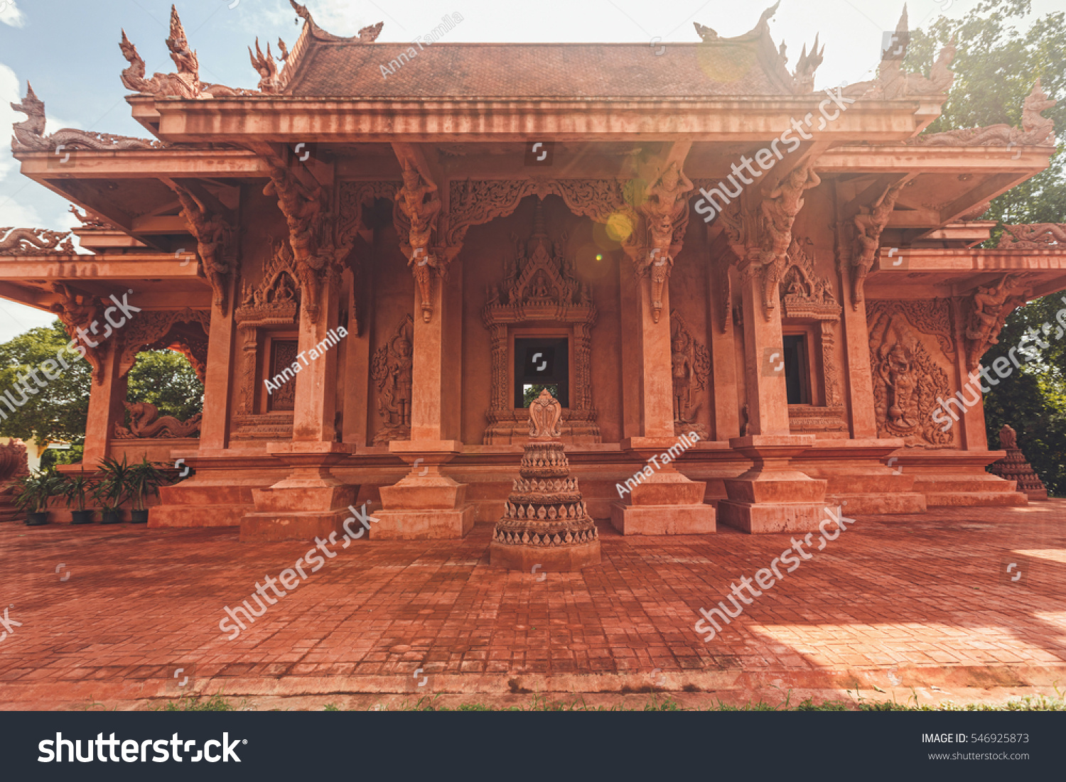Red Asian Temple Architecture