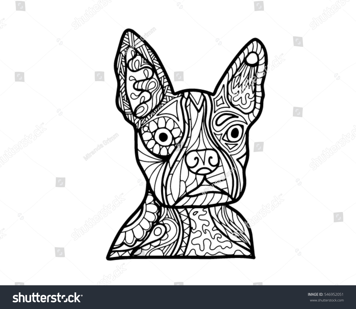 coloring book page boston terrier stock vector 546952051