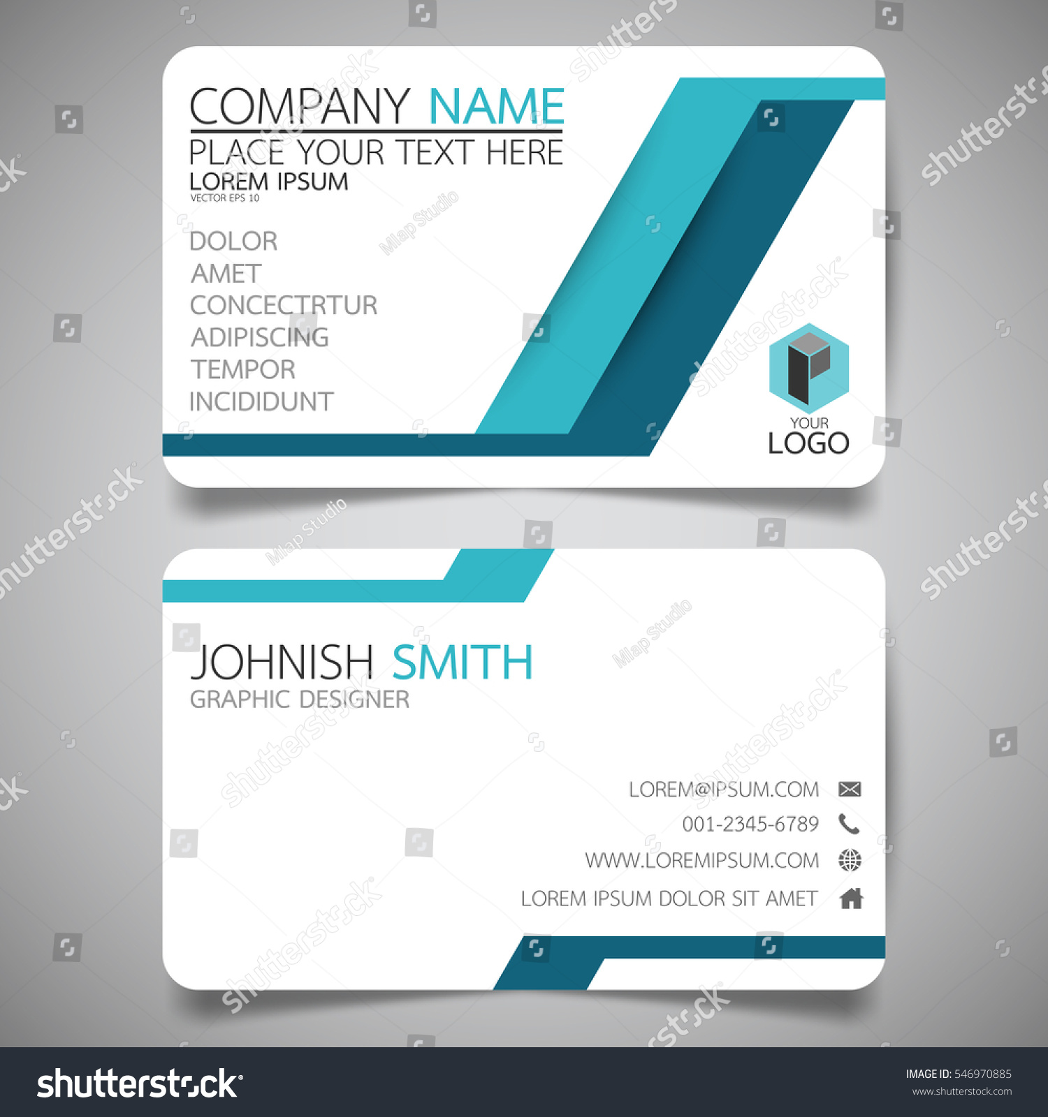 blue modern technology creative business card stock vector