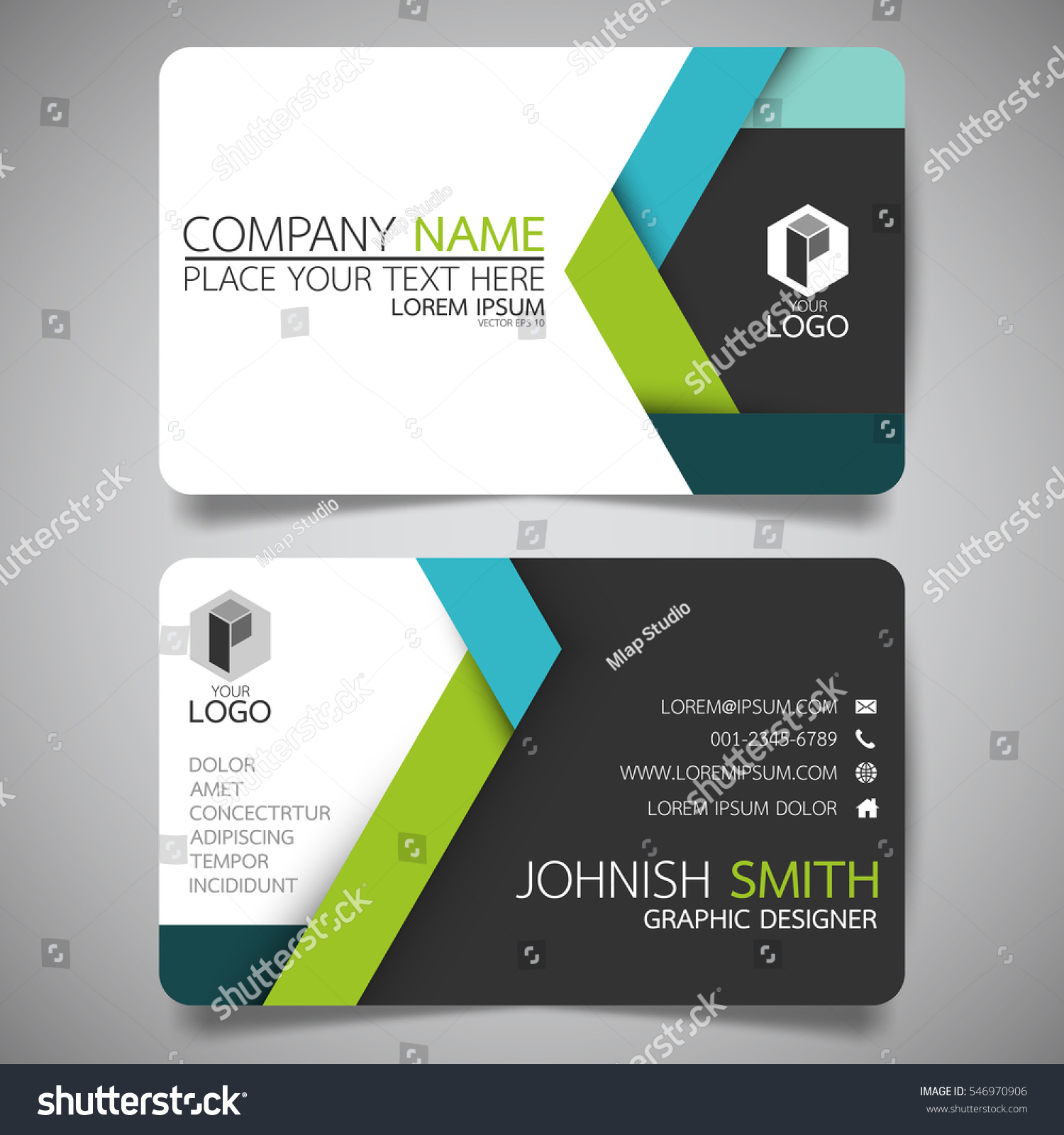 green blue modern creative business card stock vector