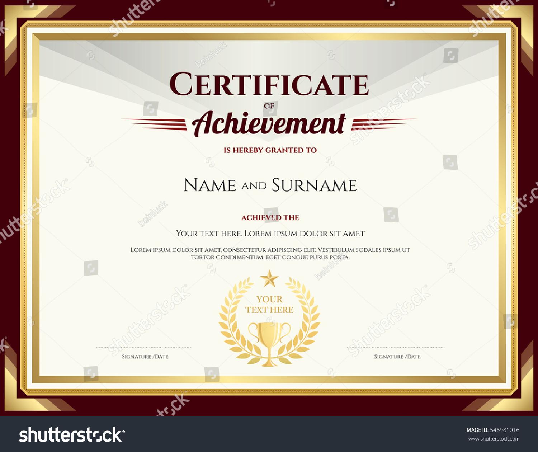 Elegant Certificate Achievement Template Vintage Brown Stock