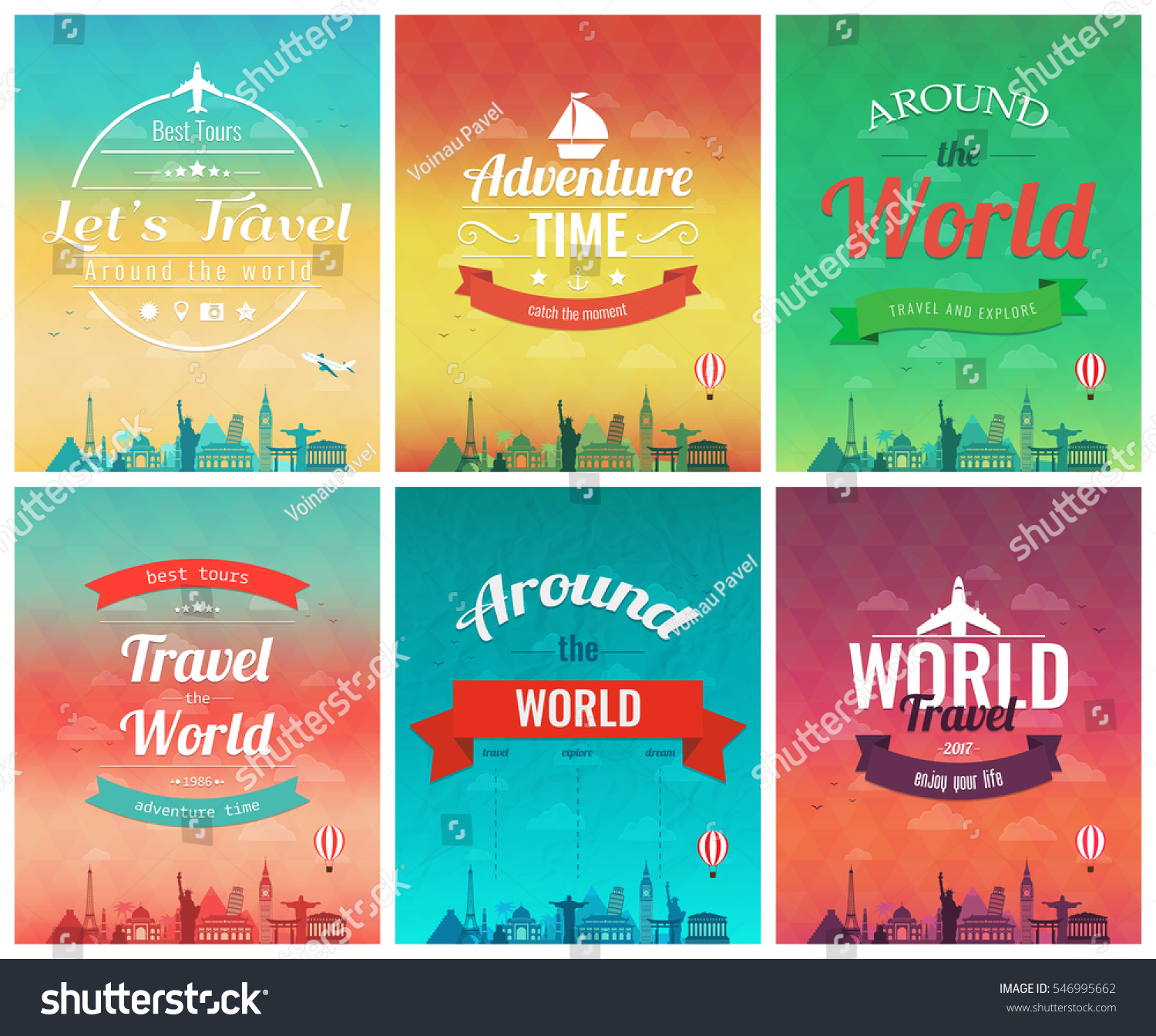 Travel Brochure With World Landmarks Template Of Magazine Poster Book Cover Banner