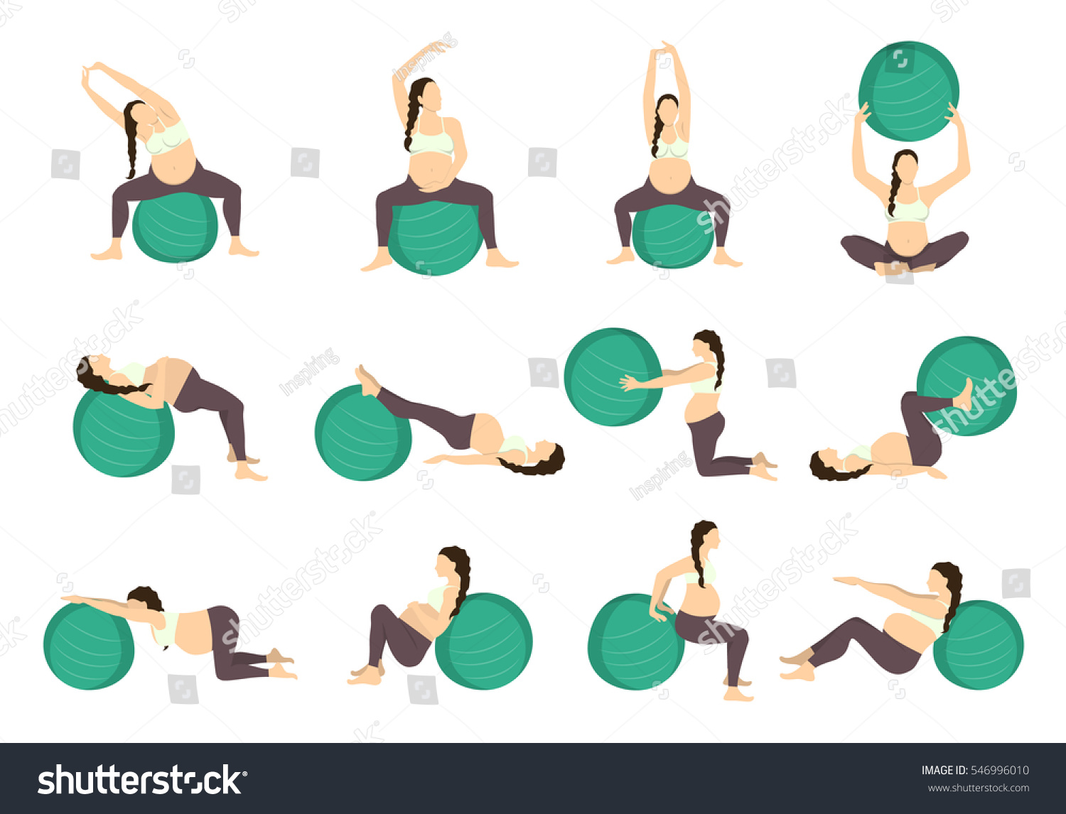 Workout Pregnant Set Exercises Fit Ball Stock Vector Royalty Free 546996010