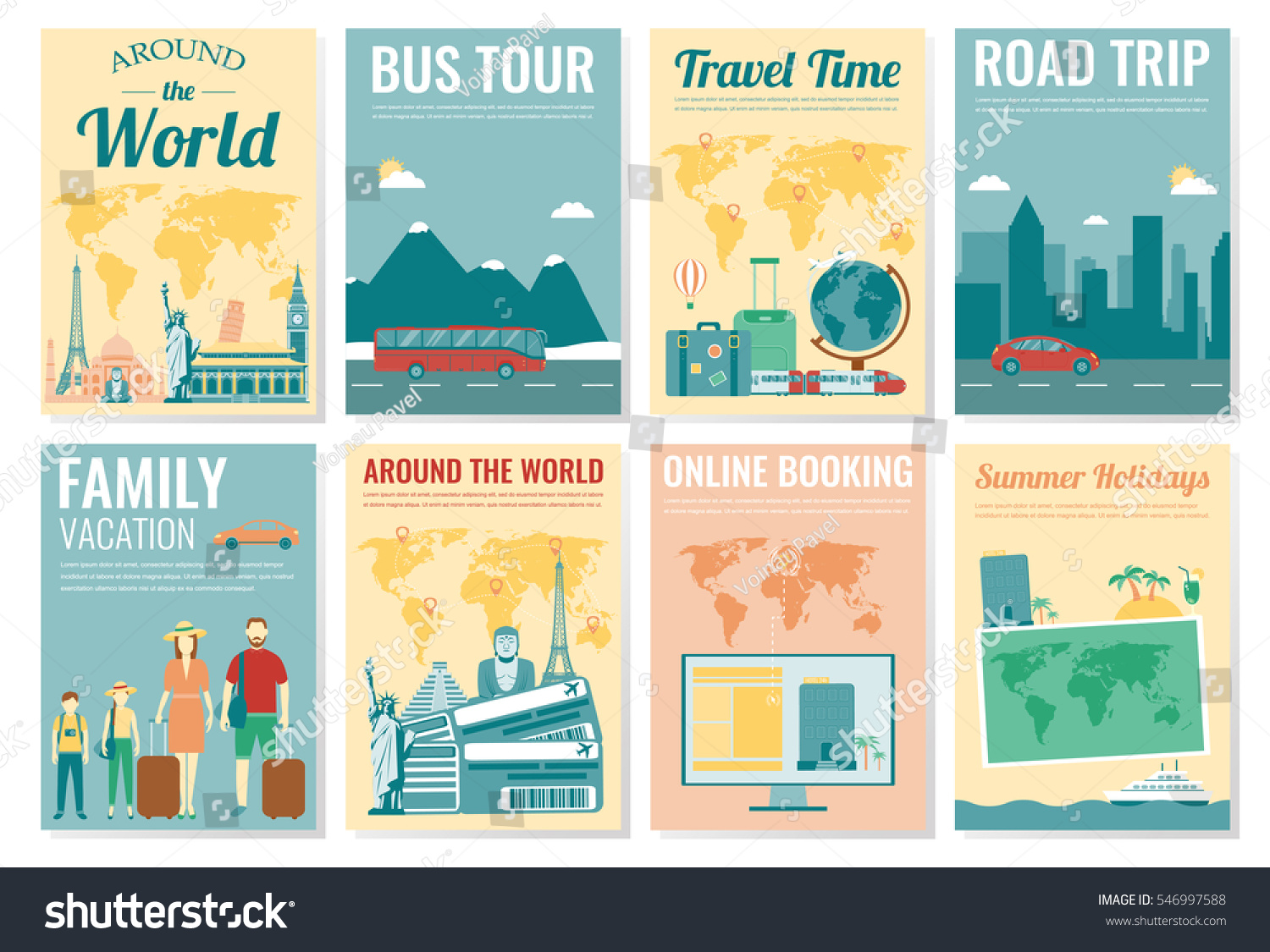 Travel Tourism Brochure Set Template Magazine Stock Vector Royalty