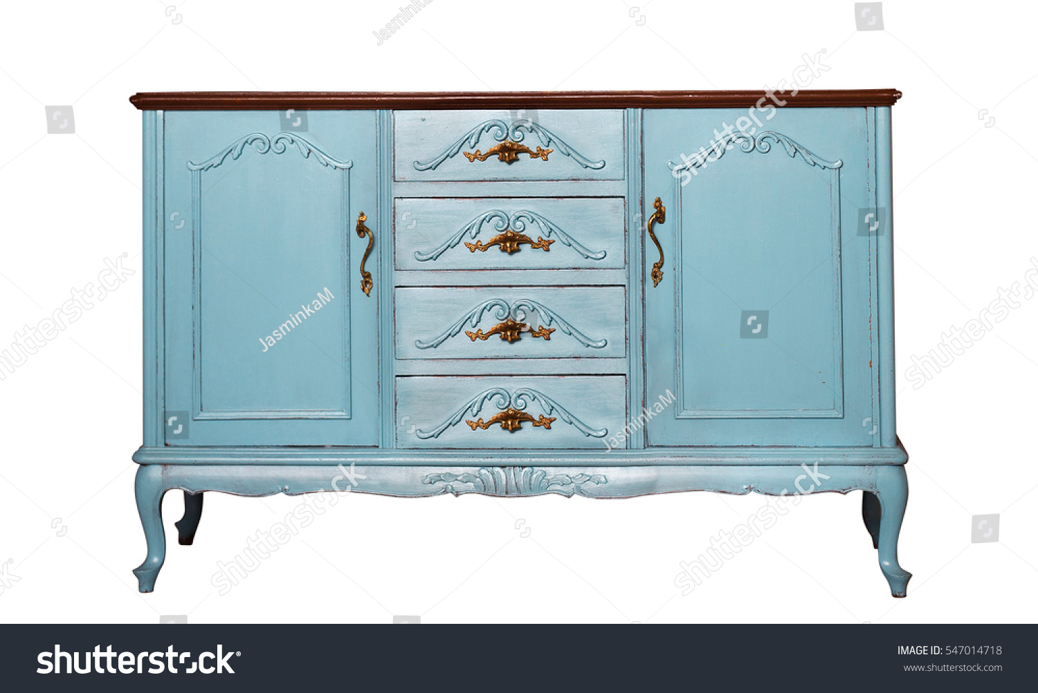 Vintage blue wooden dresser isolated on stock photo for Clothes dresser