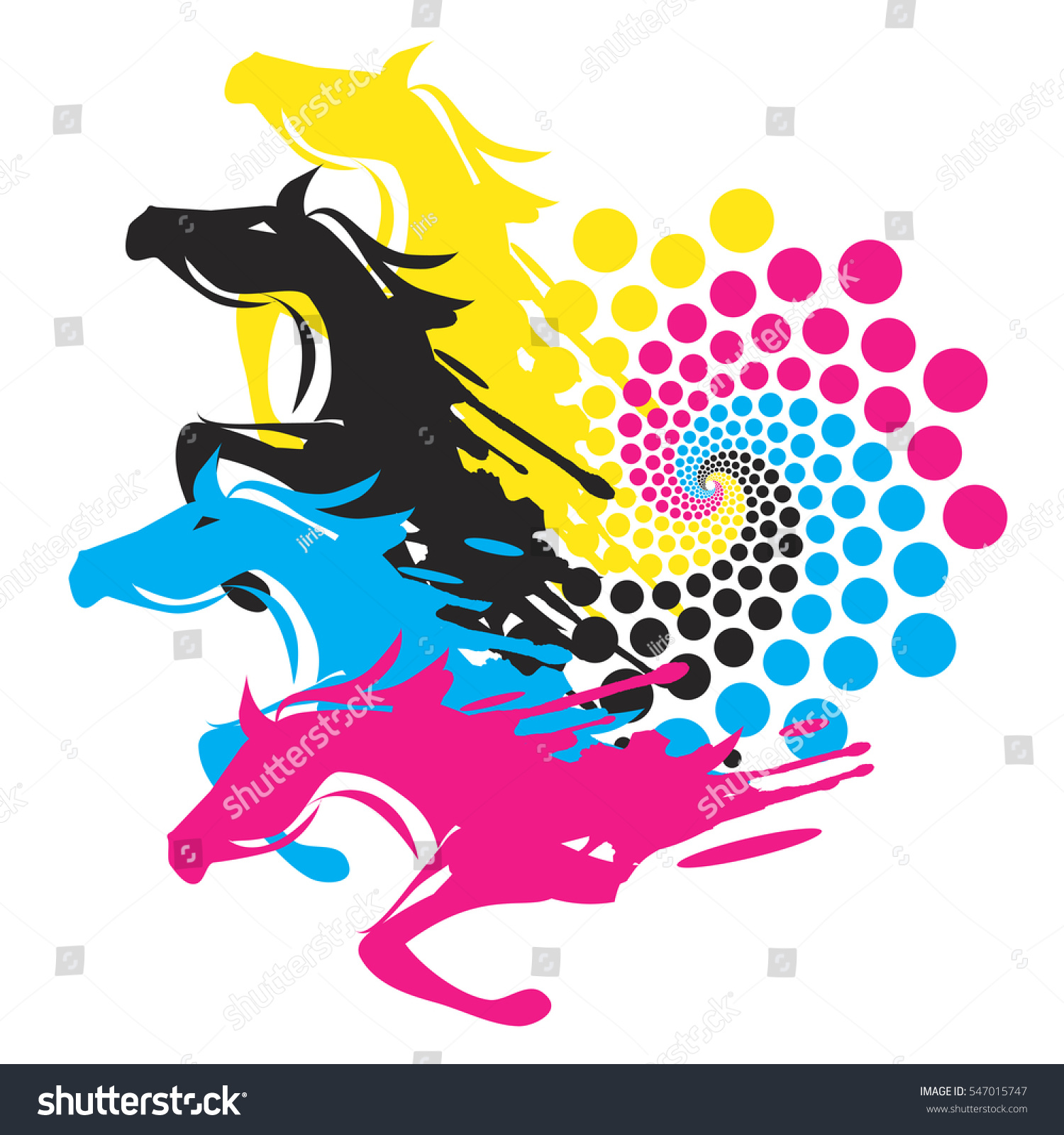 horses print color circle four running horses stock vector