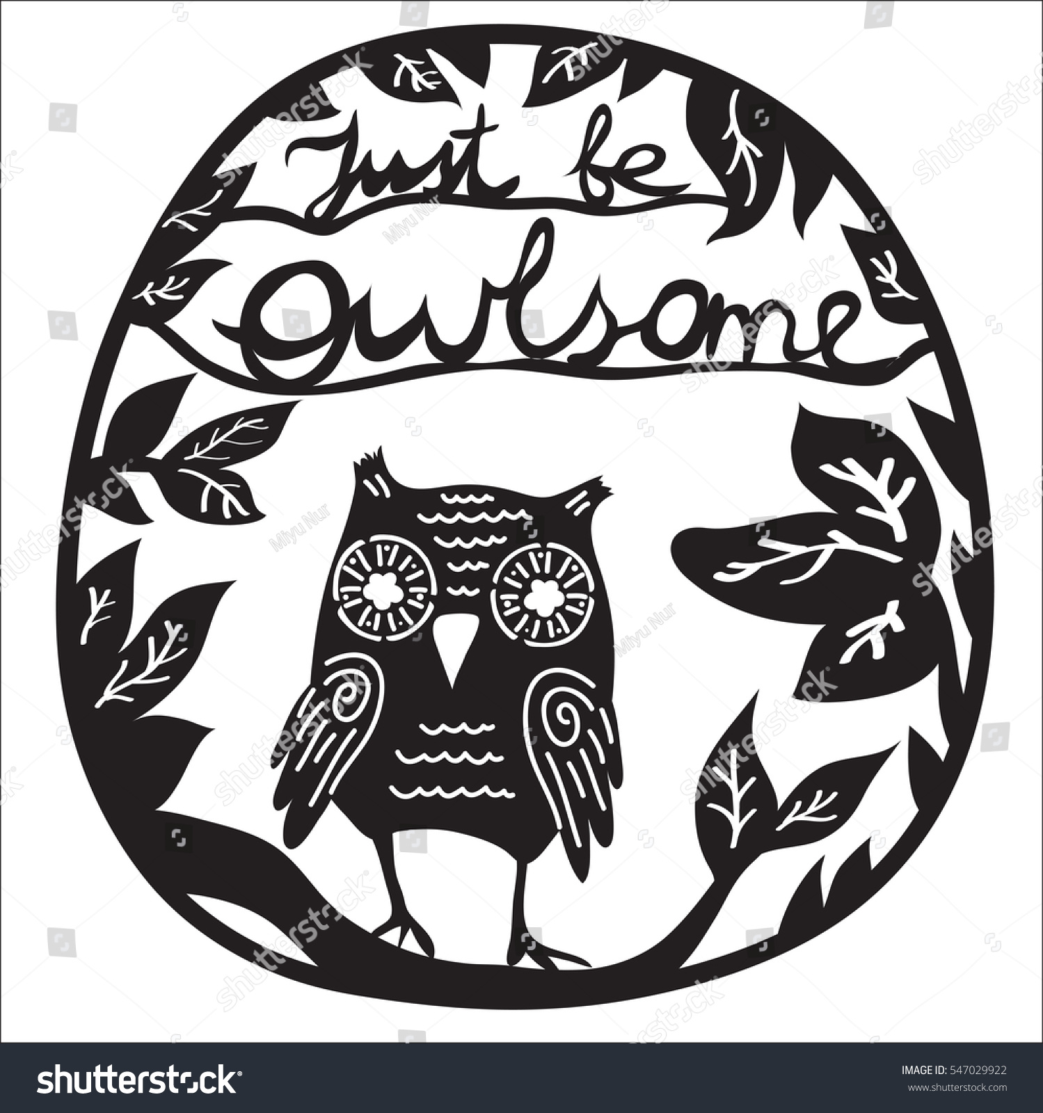Just Be Owlsome Paper Laser Cutting Stock Vector (Royalty Free ...