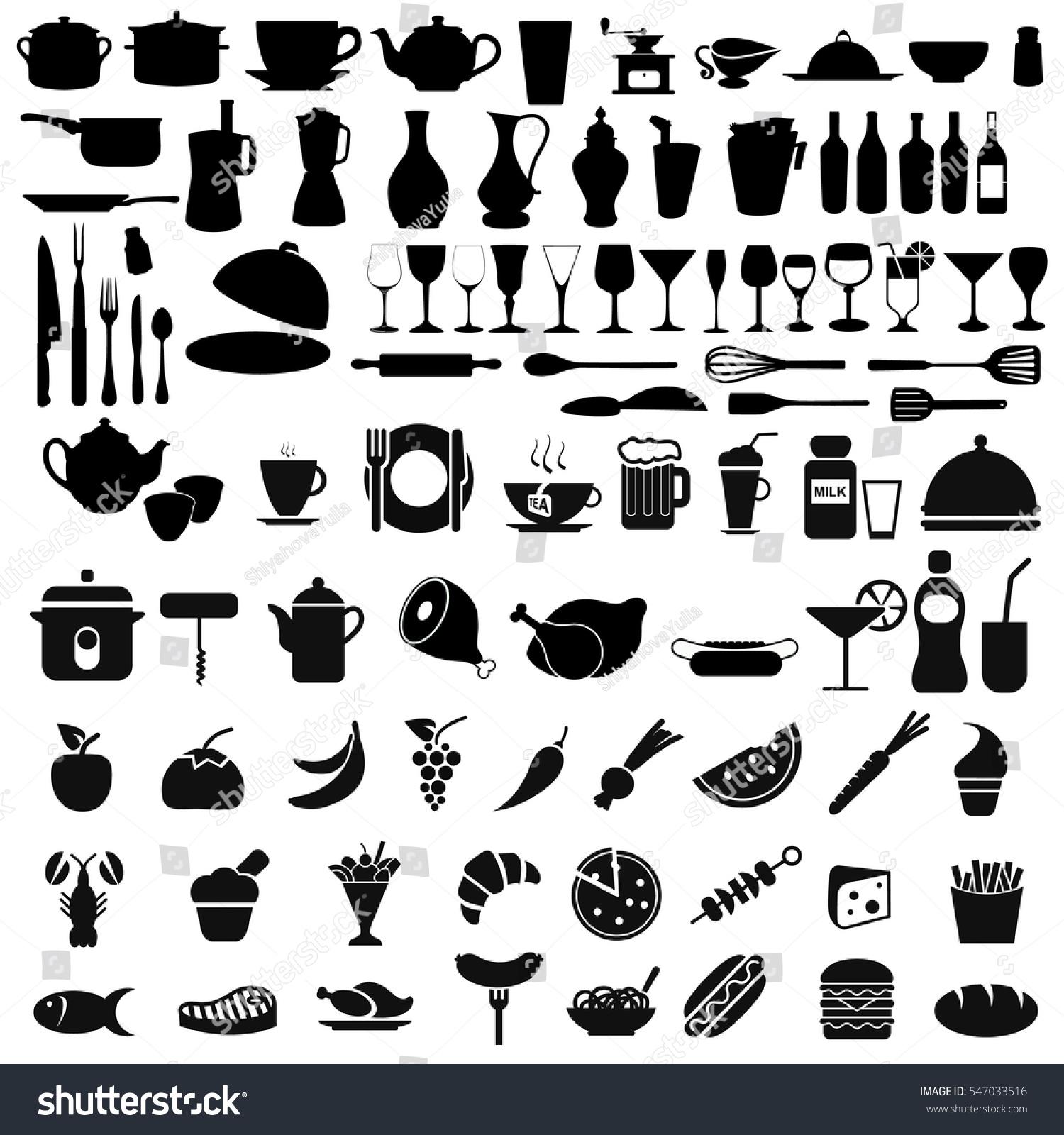 Big black set kitchen icons graphic stock vector 547033516 for Kitchen design vector