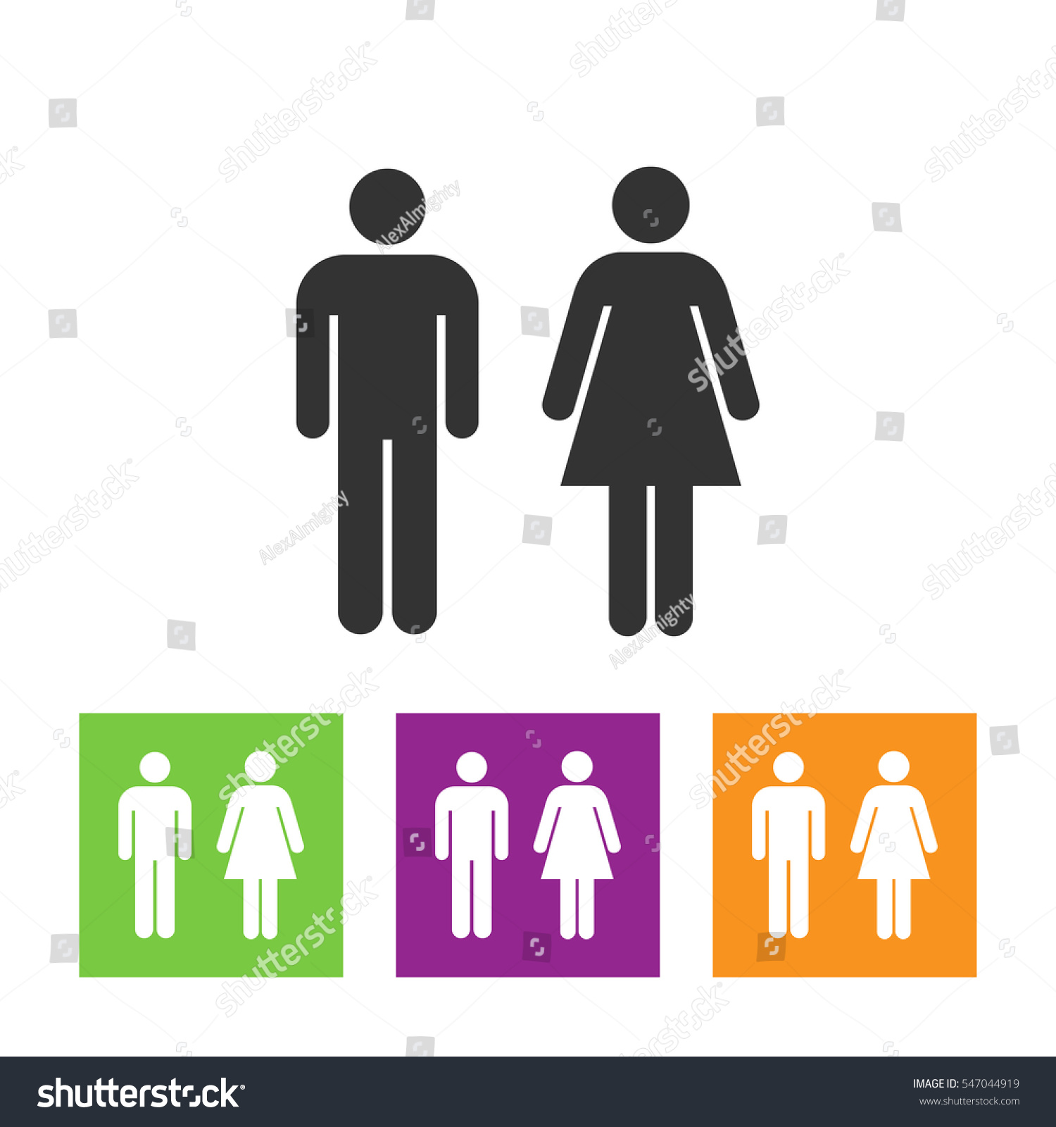 Vector man and woman icons  toilet sign  restroom icon  minimal style   pictogram. Vector Man Woman Icons Toilet Sign Stock Vector 547044919