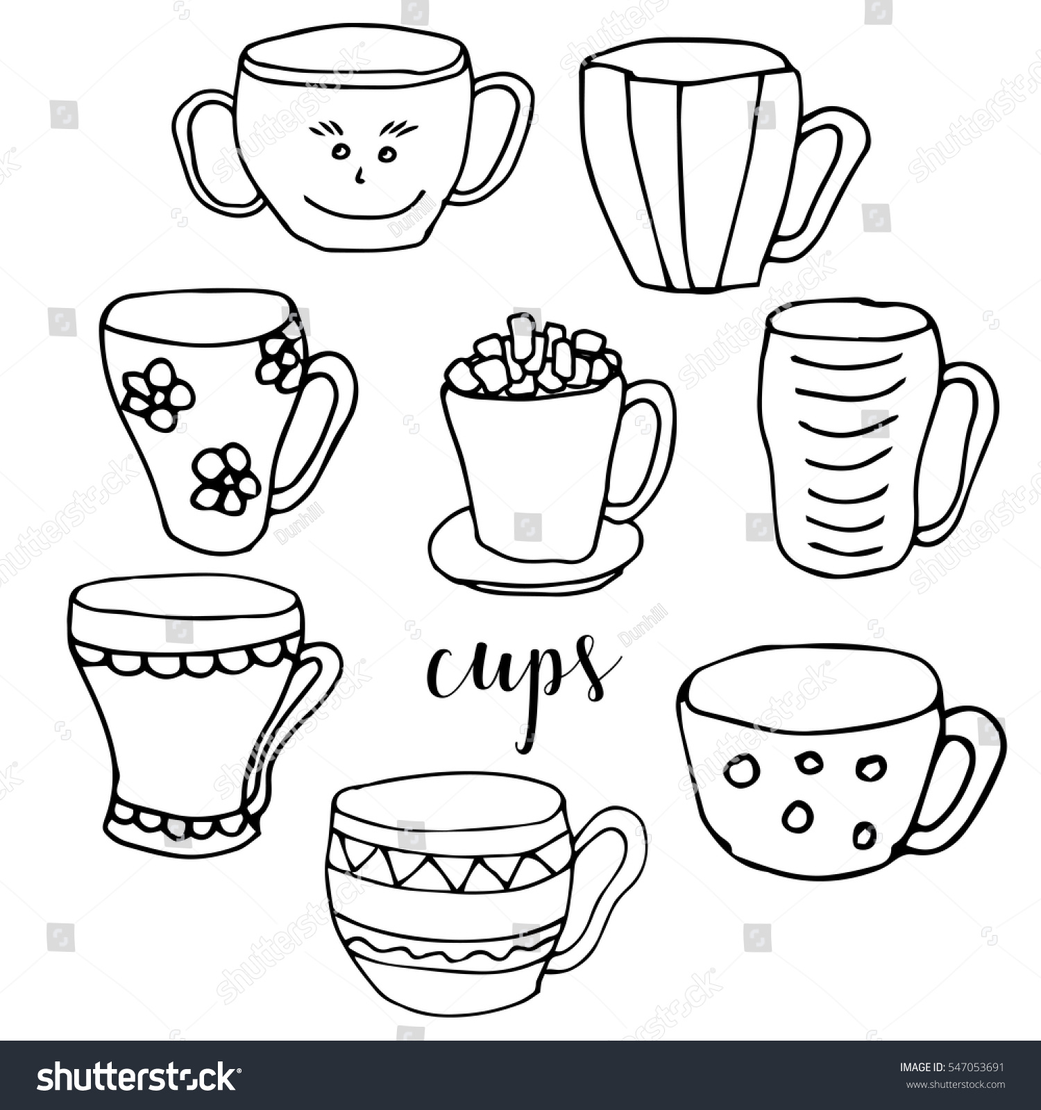 Set Of Children Drawing A Cups The Template For Painting Hand Drawn Dishes