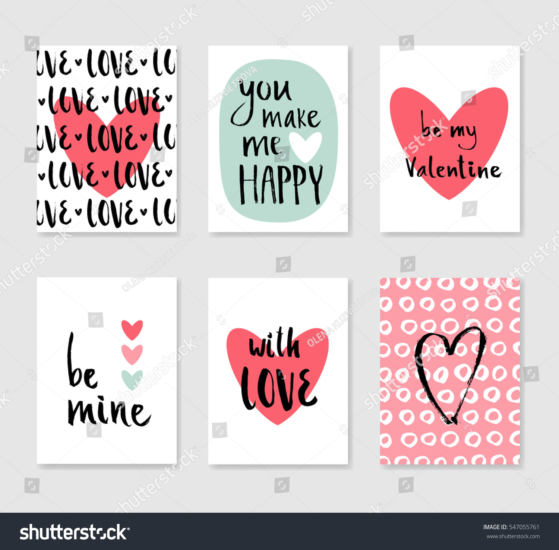 Set Cute Creative Card Love Theme Stock Photo (Photo, Vector ...
