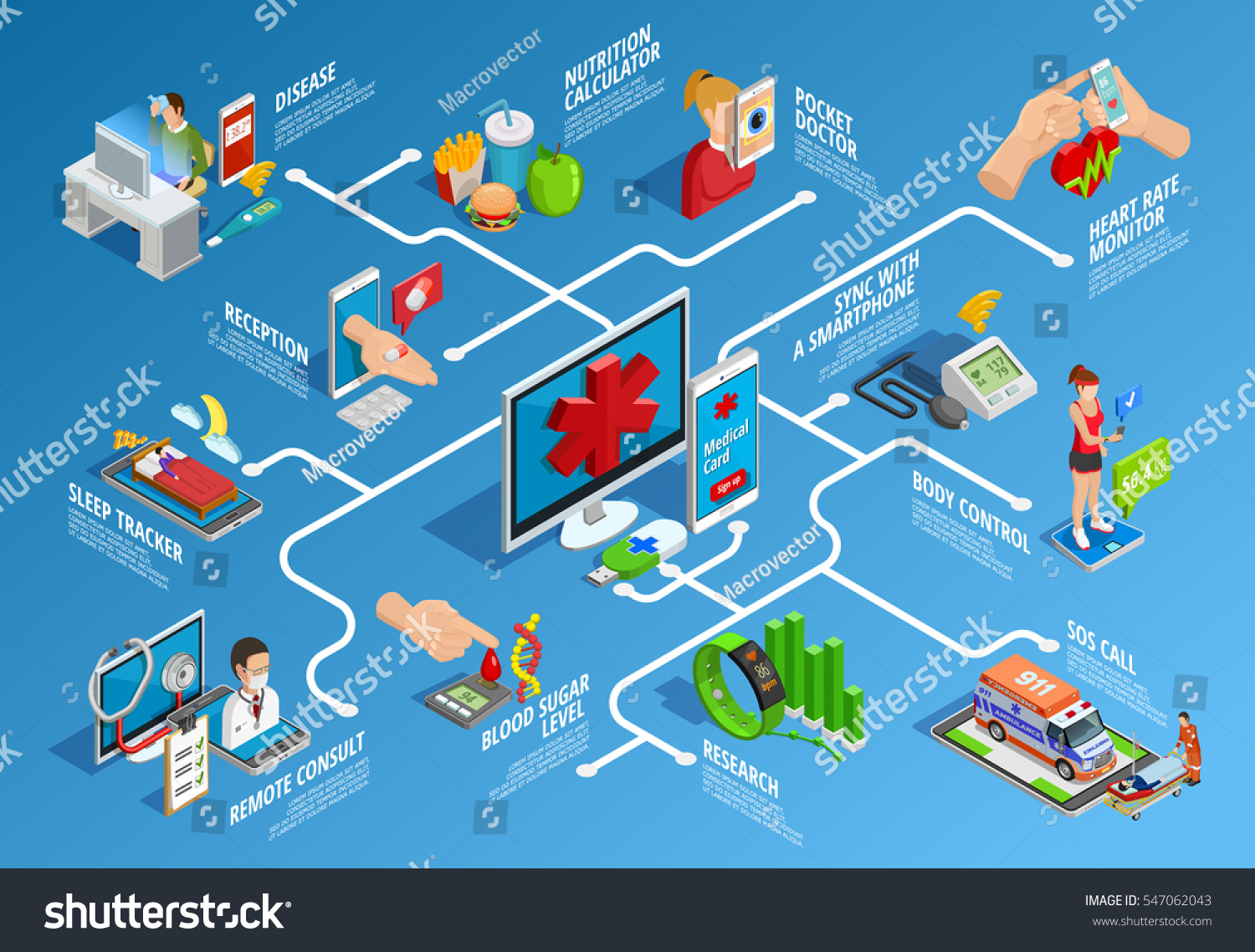digital health isometric infographics various modern stock