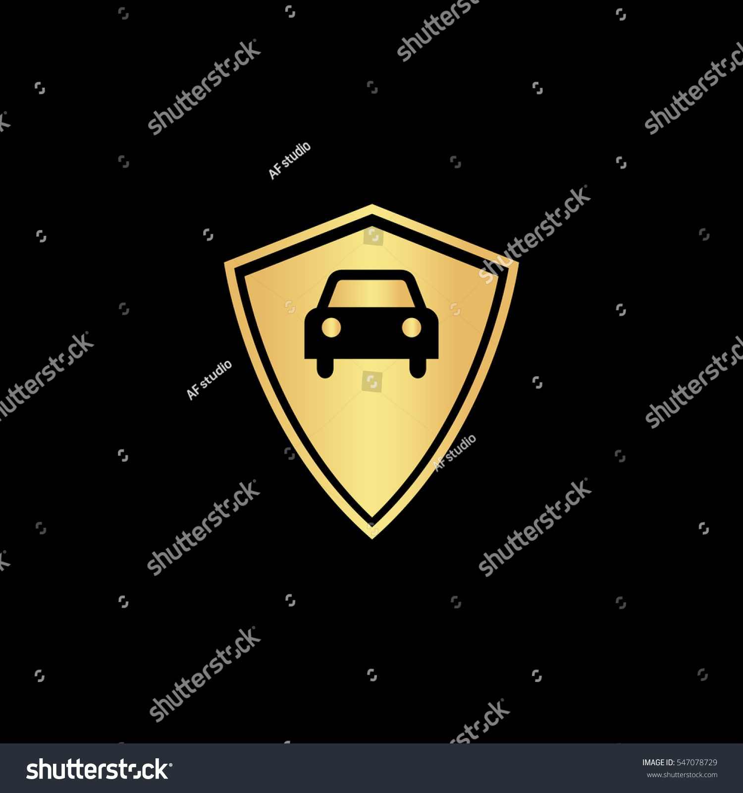 Vehicle Shield Gold Symbol Icon On Stock Vector Royalty Free