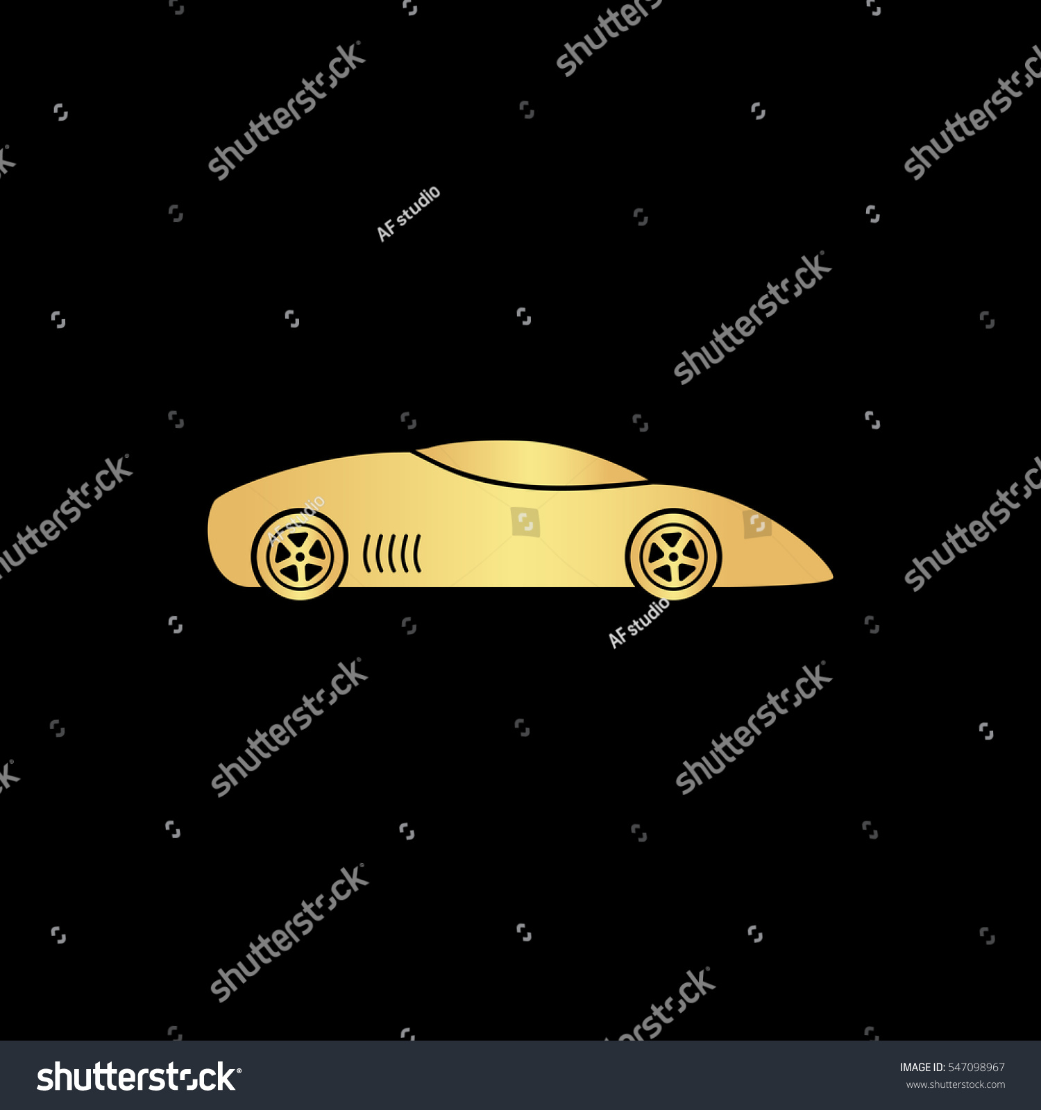 Silhouette Sport Car Racing Sports Gold Stock Vector 2018