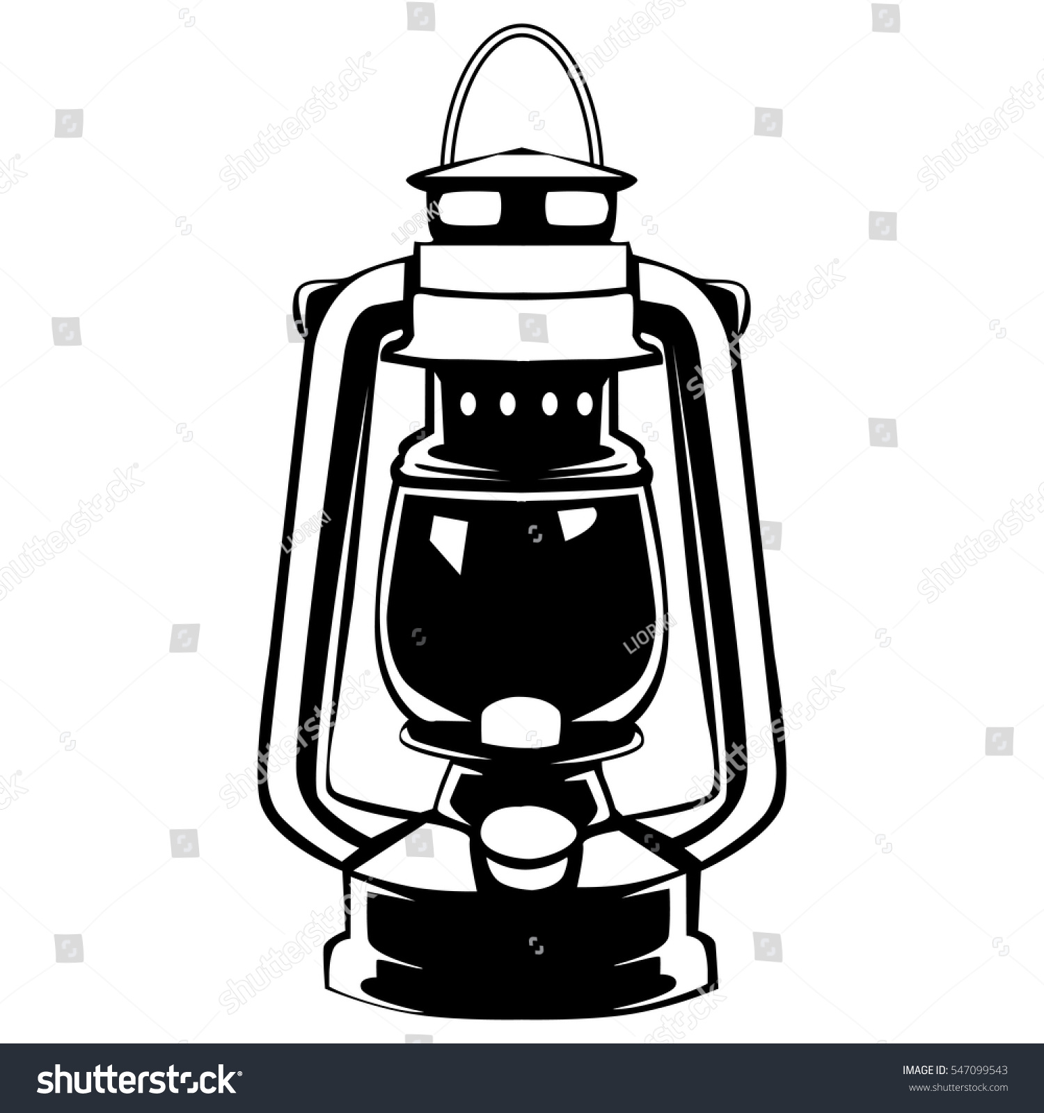 Camping Lantern Isolated On White Vector Oil Lamp Without Flame