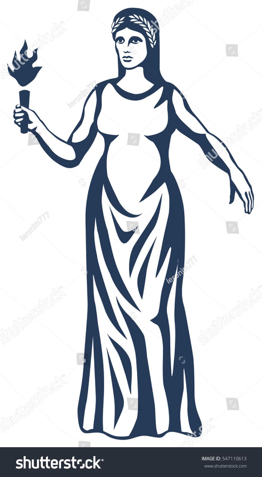 Graphic Illustration Ancient Greek Goddess Demeter Stock Vector