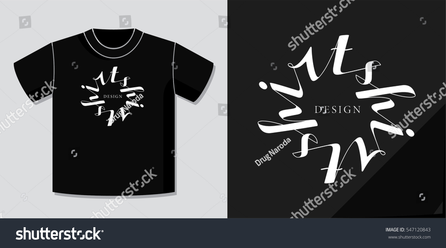 Example Of T Shirt Design | Authentic Calligraphic Logo Lettering Tshirt Design Stock Vector