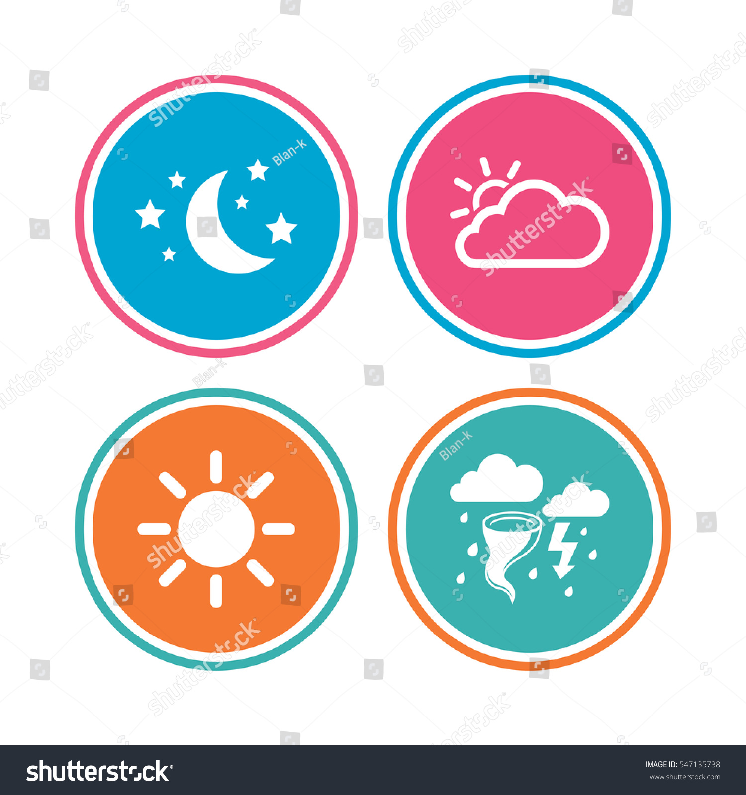 Weather Icons Moon Stars Night Cloud Stock Vector Royalty Free
