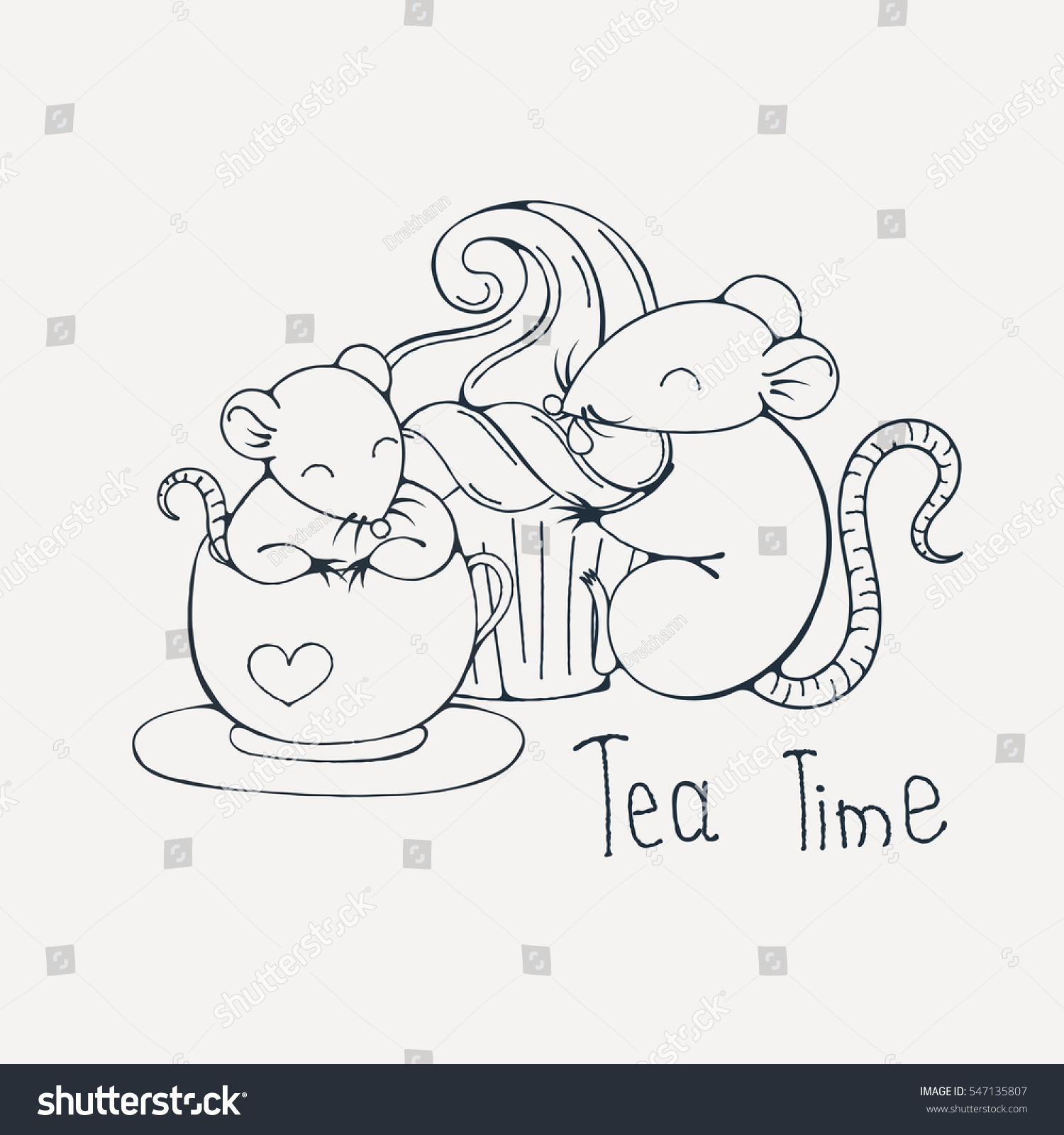 Illustration Cute Rat Cup Tea Coffee Stock Illustration 547135807 ...