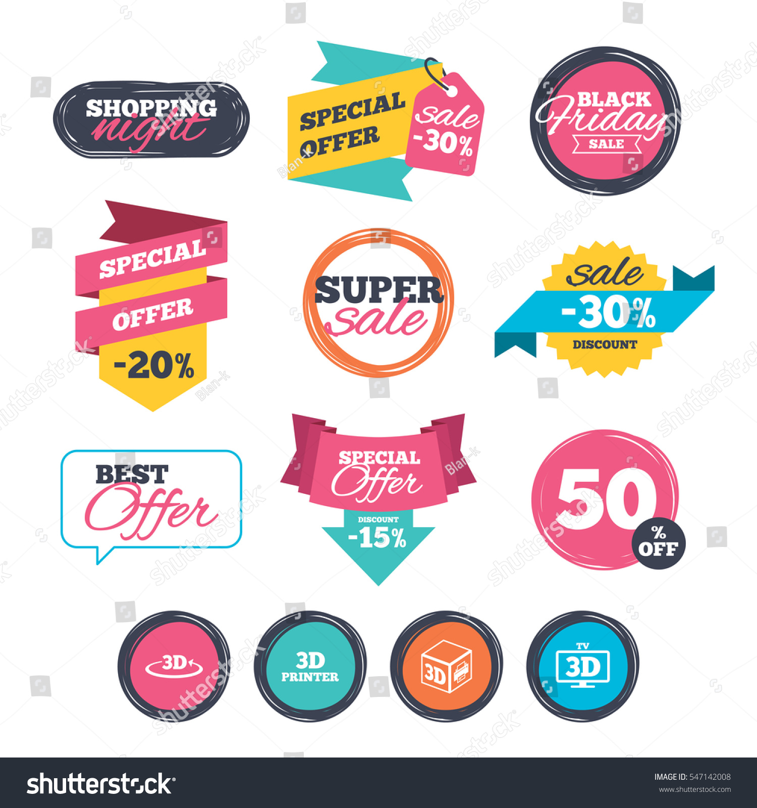 Sale stickers online shopping 3d technology icons printer rotation arrow sign symbols print cube website badges black friday vector vector