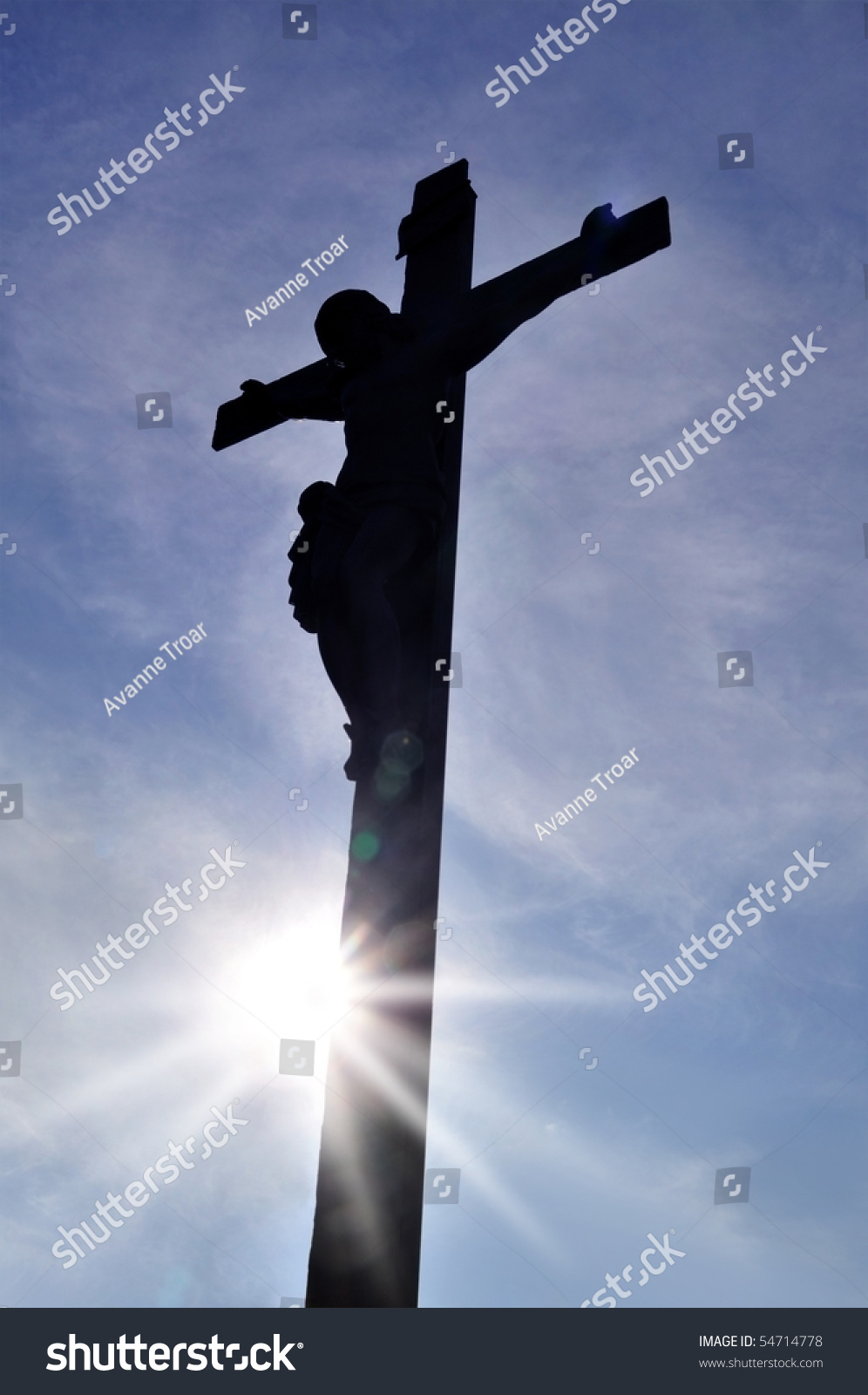 jesus christ on cross sky back stock photo 54714778 shutterstock