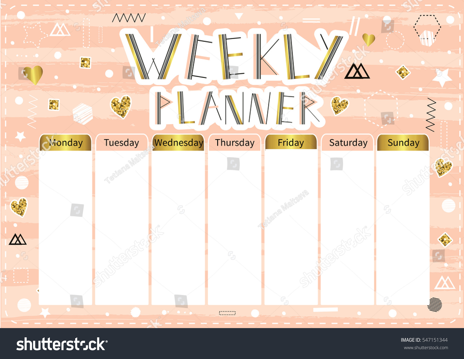 weekly planner cute page notes notebooksdecals stock