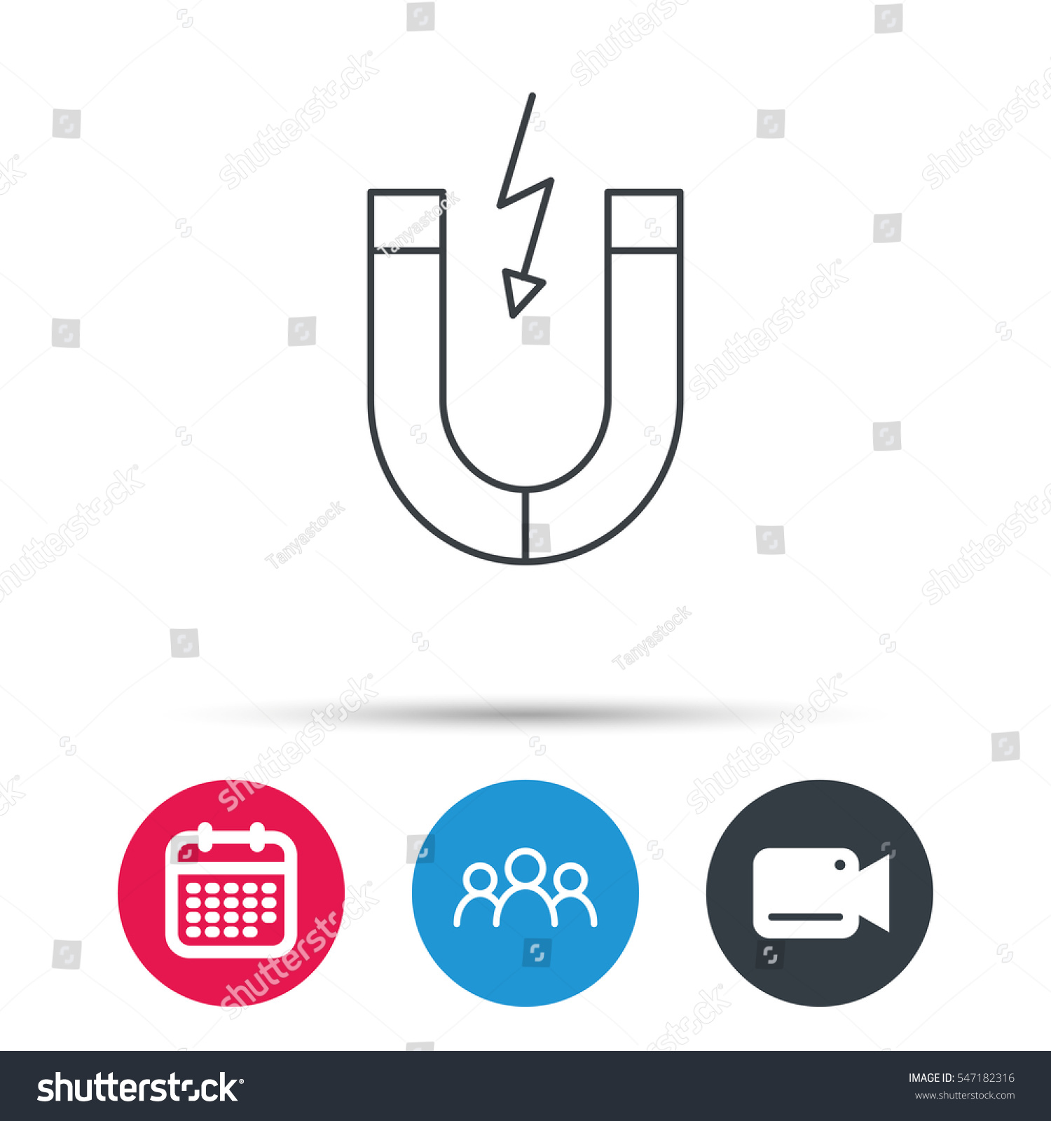 magnet icon magnetic power sign physics stock vector