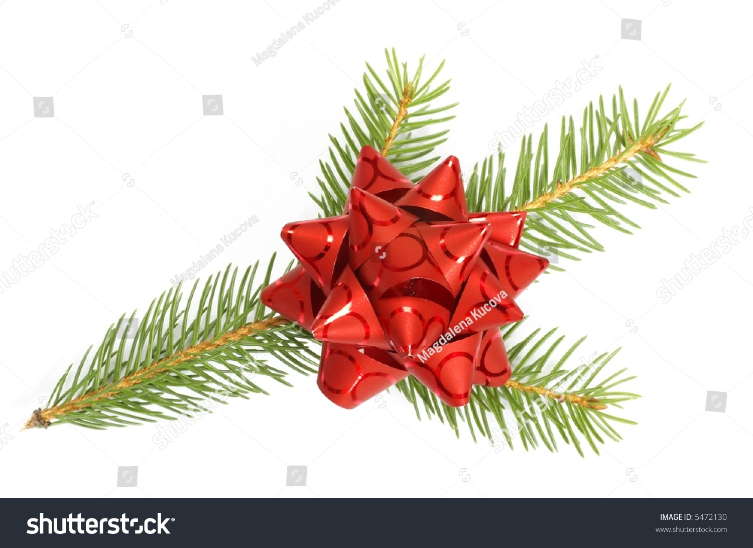 Branch Of Christmas Tree And Red Bow On White Background ...  Red Christmas Tree White Background