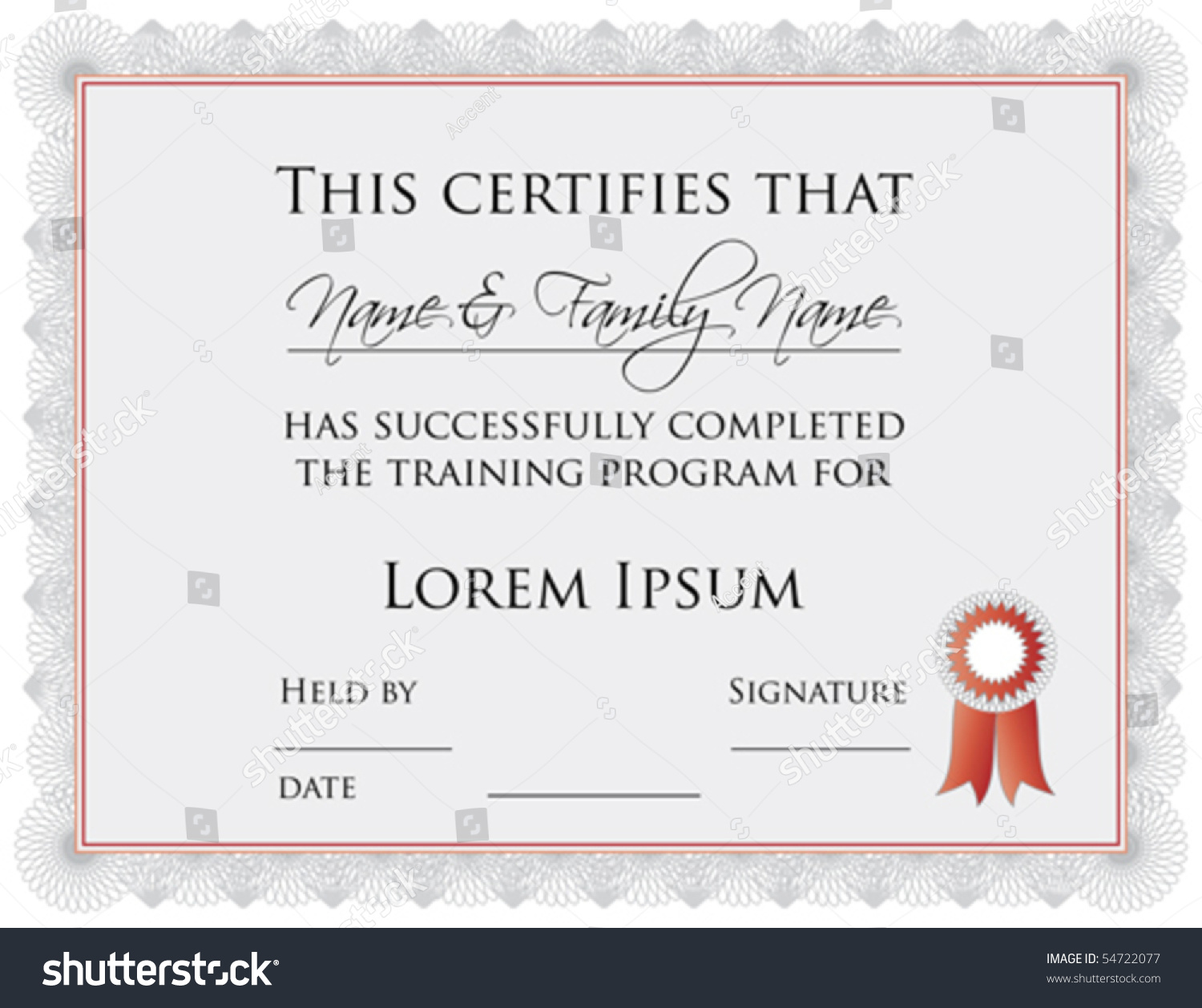 Vector Certificate Completion Template A Jpg Vector 54722077 – Certification of Completion Template