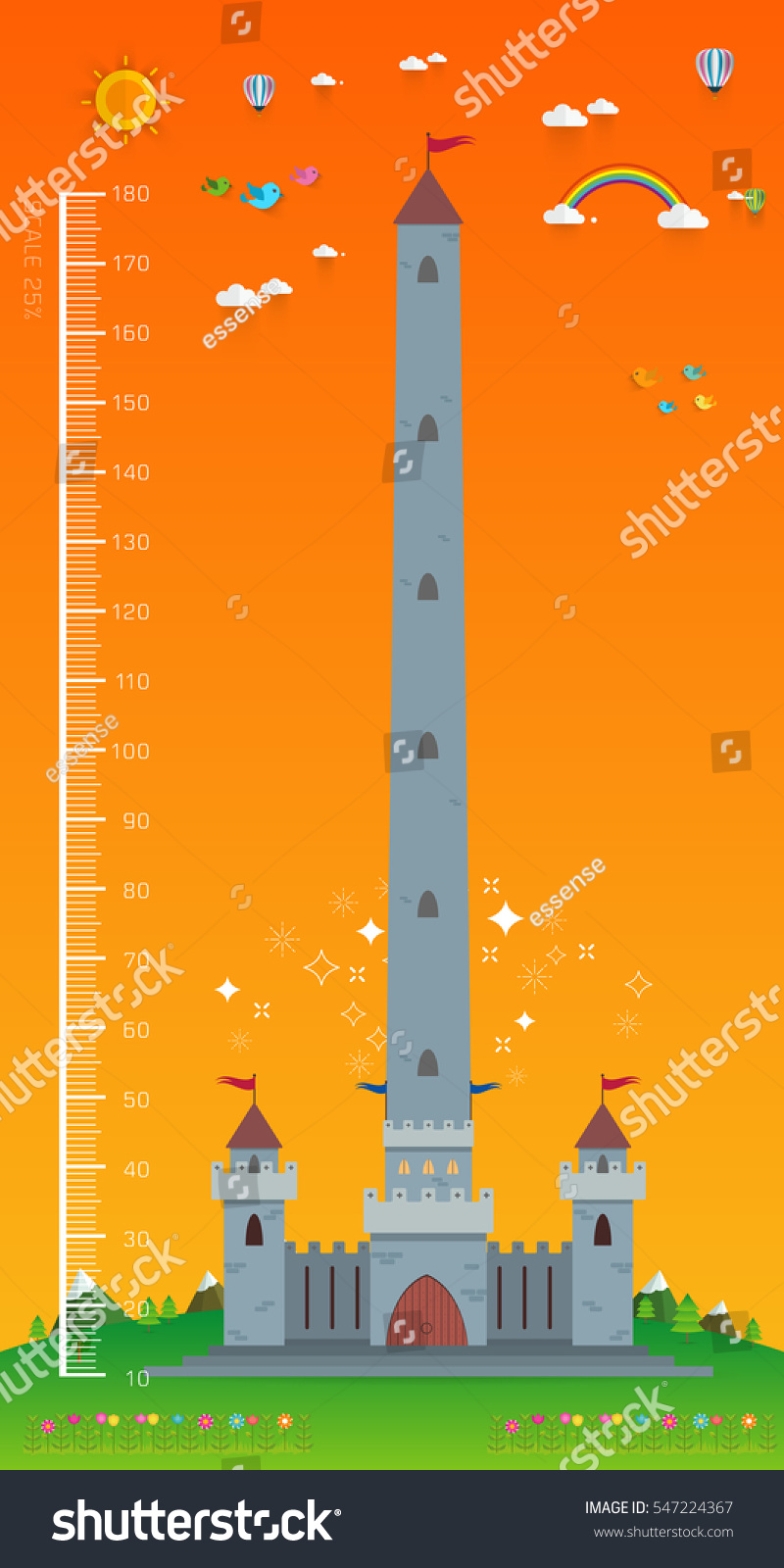 Background image 100 height - Background Of Children Height Meter Meter Wall Castle Princesses Meter From 10