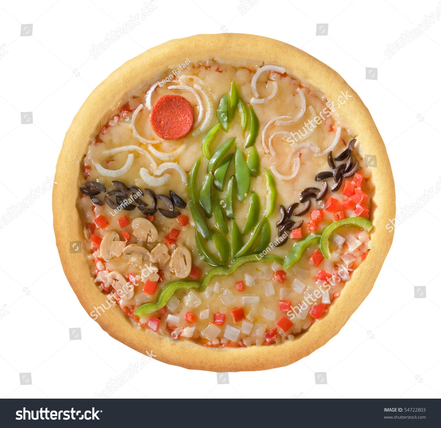 Garden Pizza With Clipping Path Stock Photo 54722803 ...