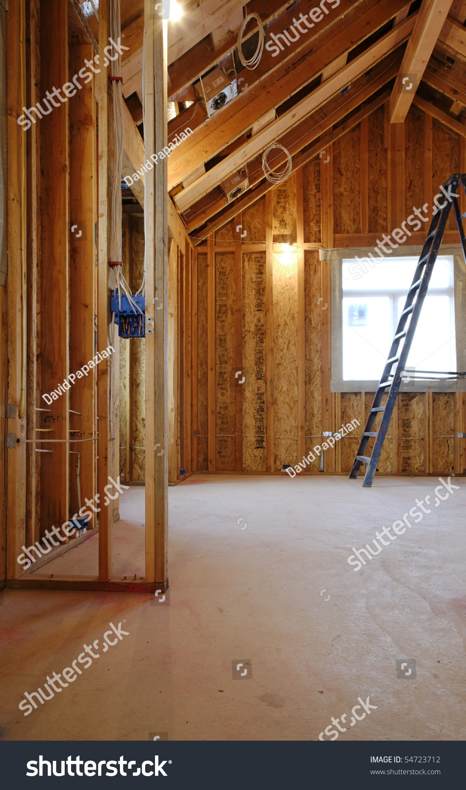 Interior View New Home Under Construction Stock Photo Edit Now Wiring A House An Of With Exposed And Ladder