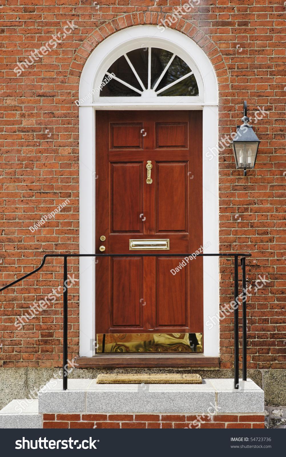 Elegant Red Door Brass Accents Brick Stock Photo Edit Now 54723736
