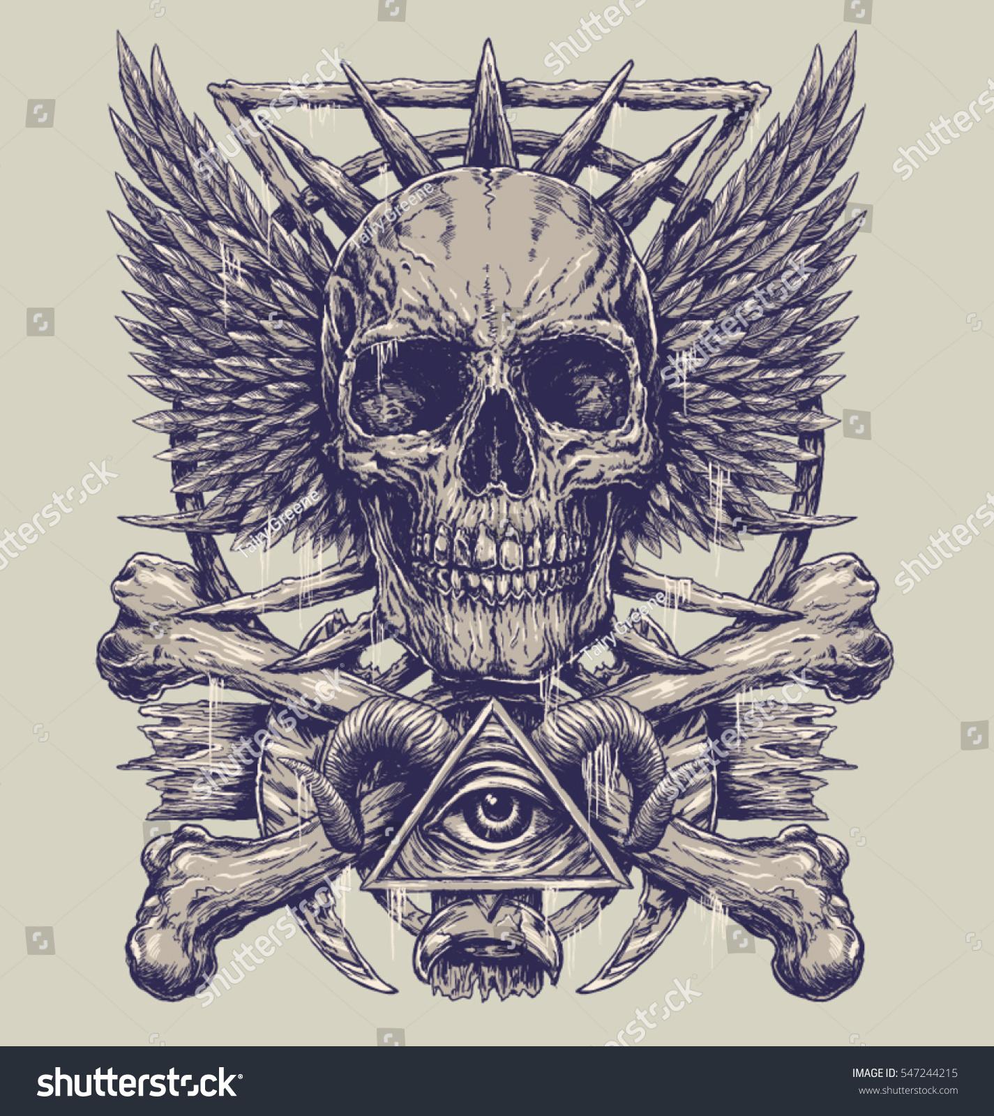 37726350a63 Stock vektory na téma Heavy Metal Inspired Skull Design (bez ...