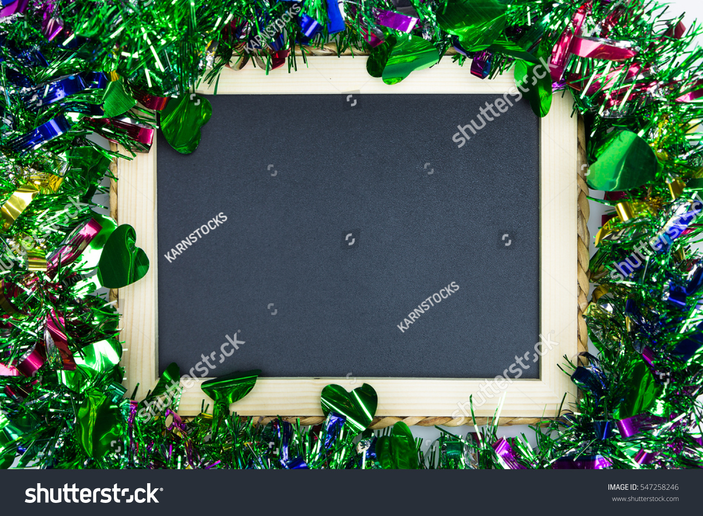 Blackboard Christmas Ornament Decoration Blank Frame Stock Photo