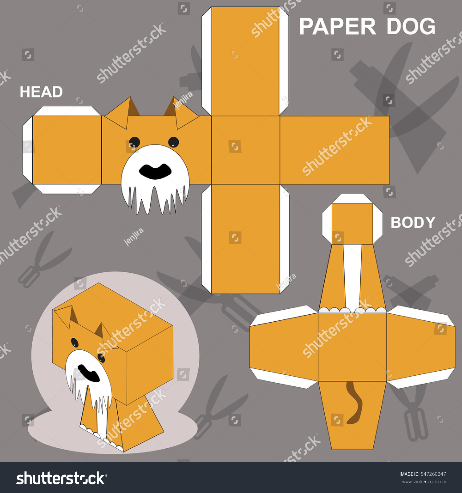Dog Paper Craft Template Stock Vector Royalty Free 547260247