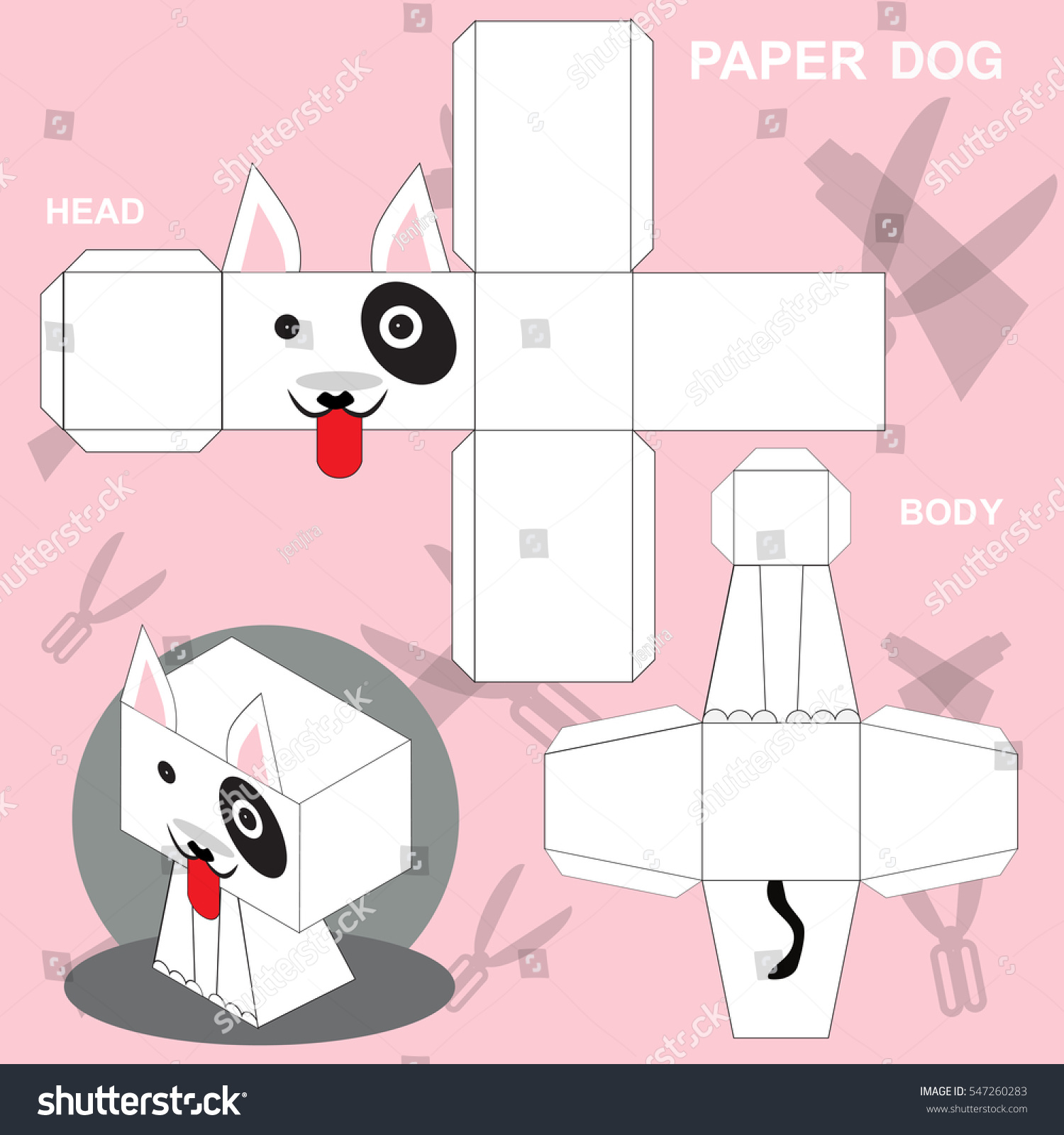 Dog Paper Craft Template Stock Vector Royalty Free 547260283