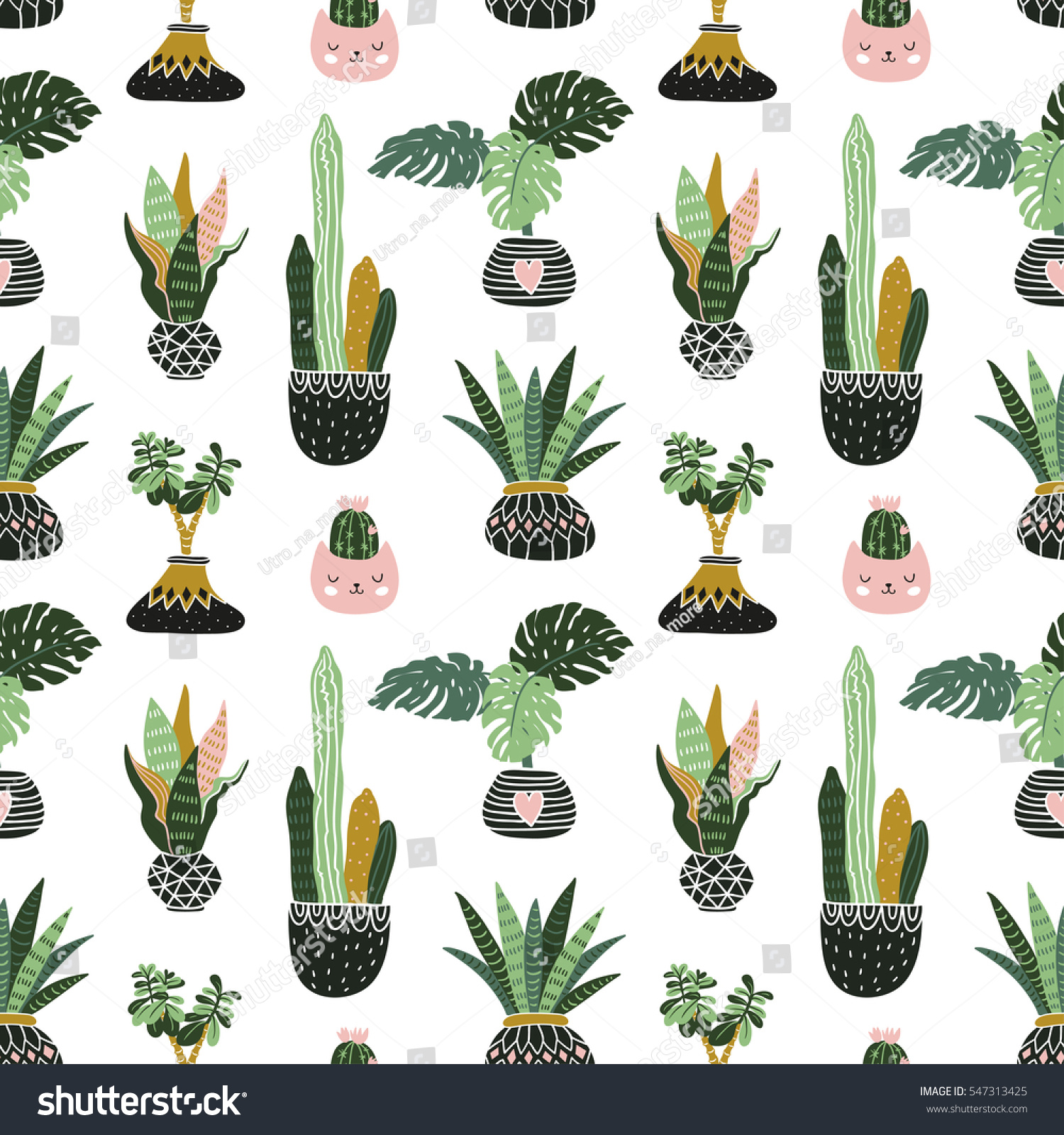 hand drawn tropical house plants style seamless pattern for fabric wallpaper