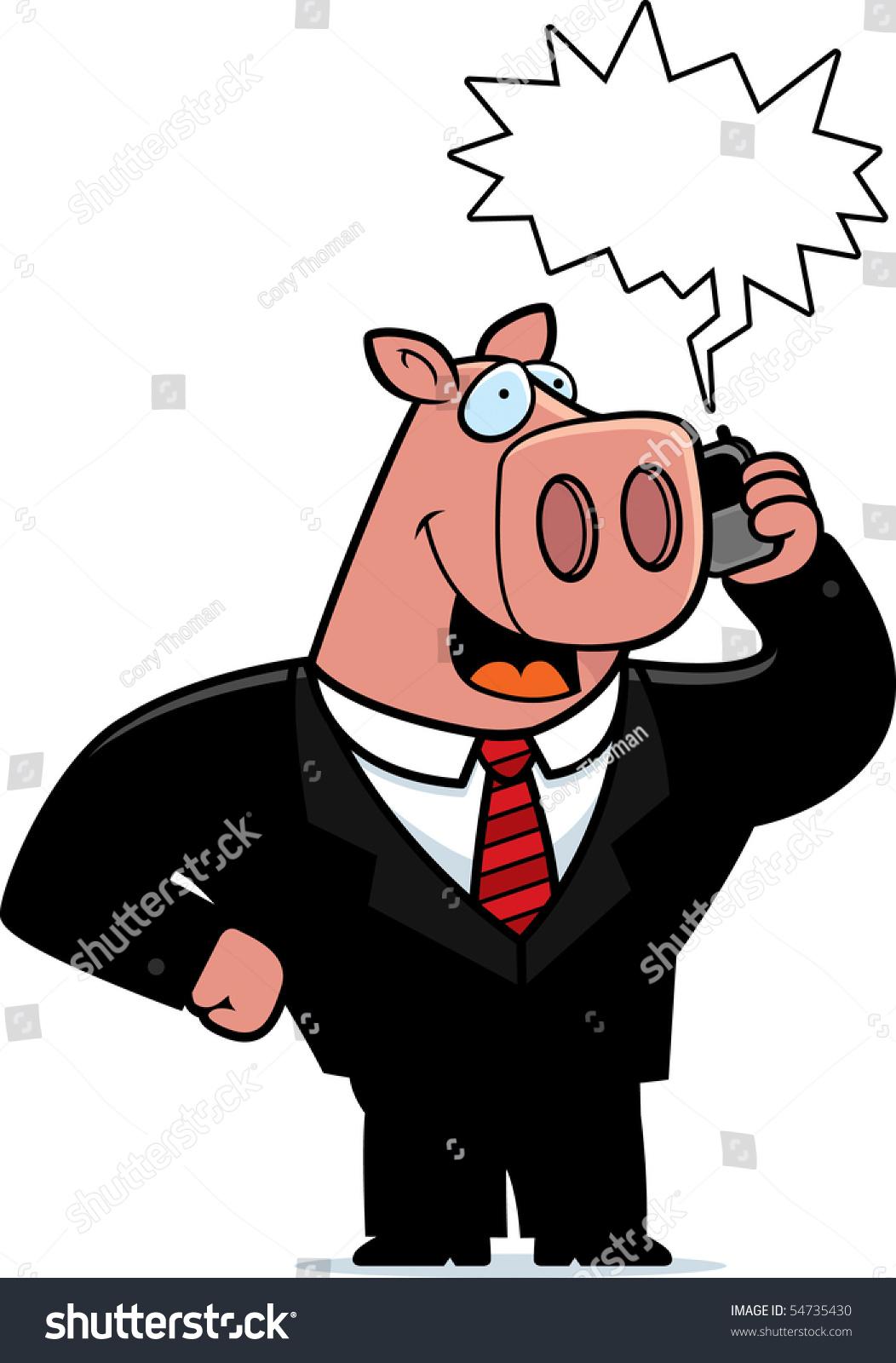 Cartoon Pig Suit Talking On Cell Stock Illustration 54735430 ...