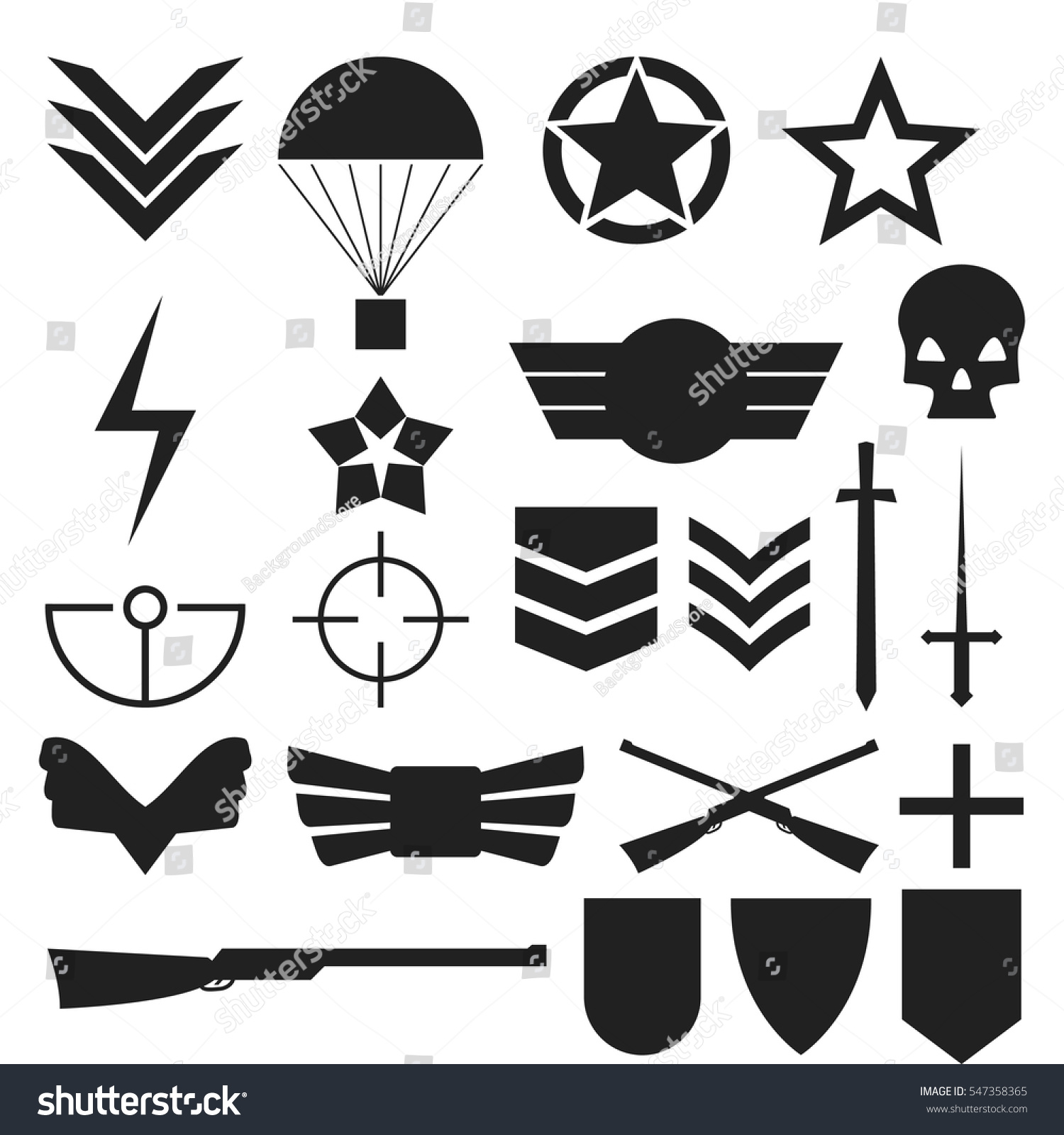 Military army like symbols black vectors stock vector 547358365 military army like symbols black vectors set buycottarizona Choice Image
