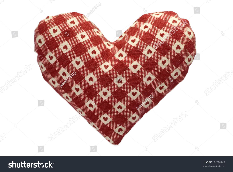 Plush Heart Knitting Pattern : Stuffed Gingham Heart With A Red Pattern Stock Photo ...