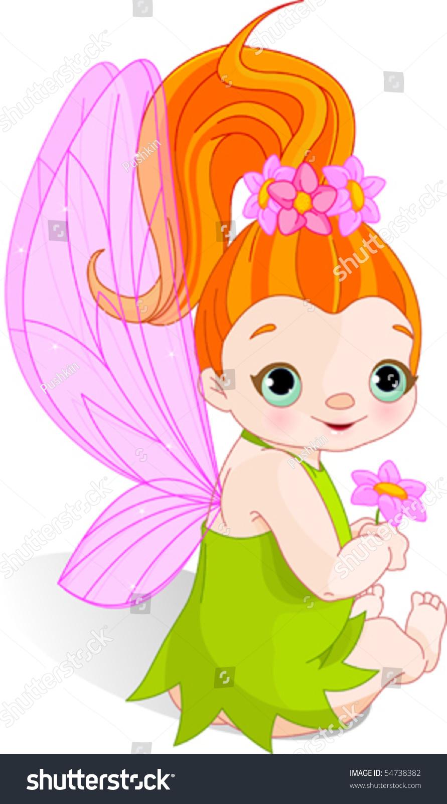 Cute Baby Fairies: Sitting Cute Baby Fairy With Flower Stock Vector