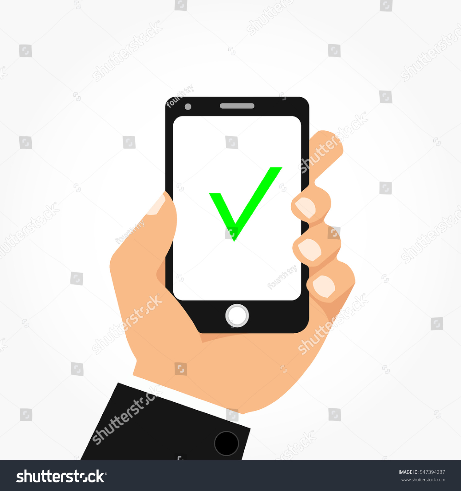 Left Hand Holding Black Smart Phone Stock Vector (Royalty