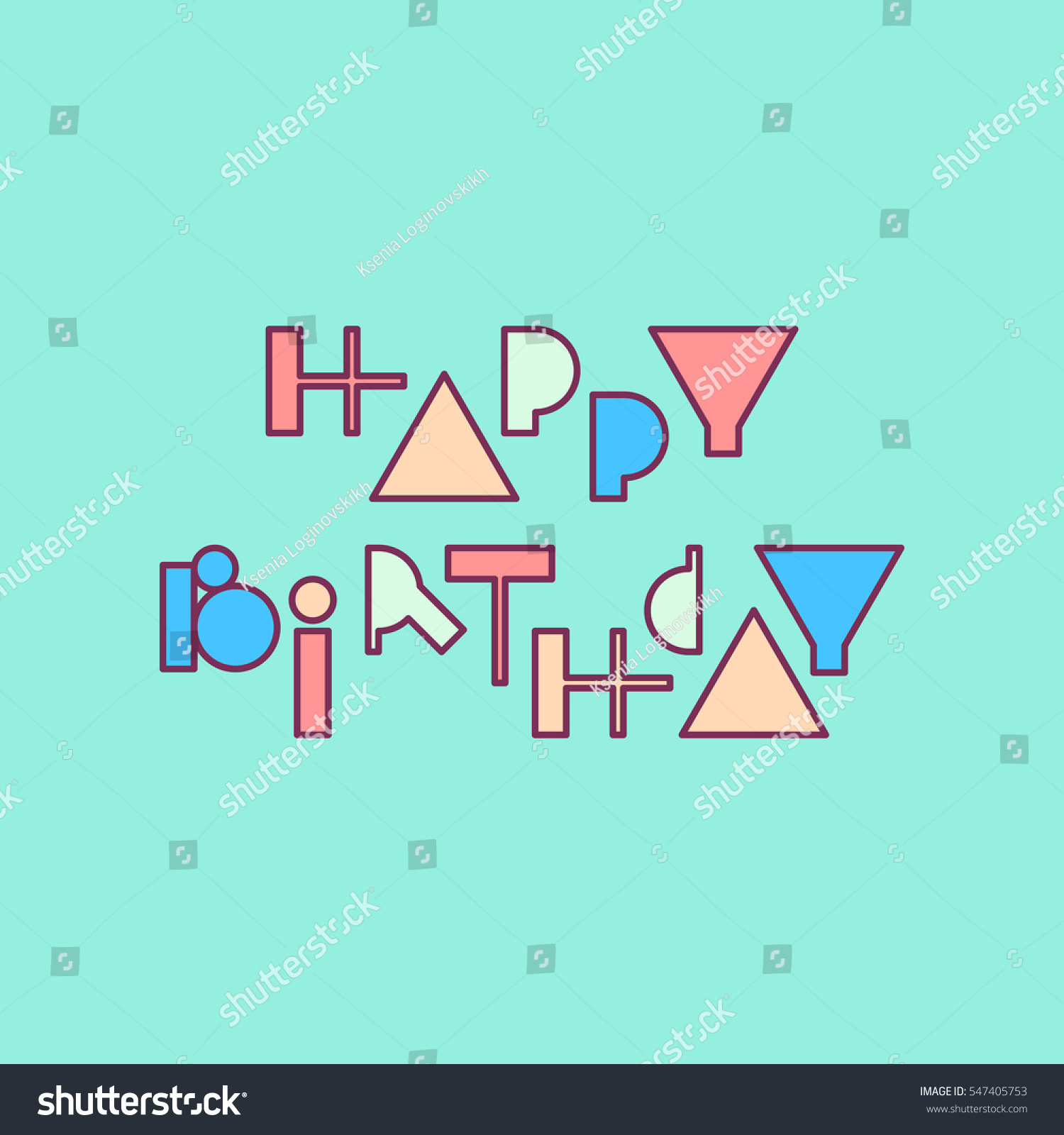 Vector Linear Hipster Font Happy Birthday Stock Vector