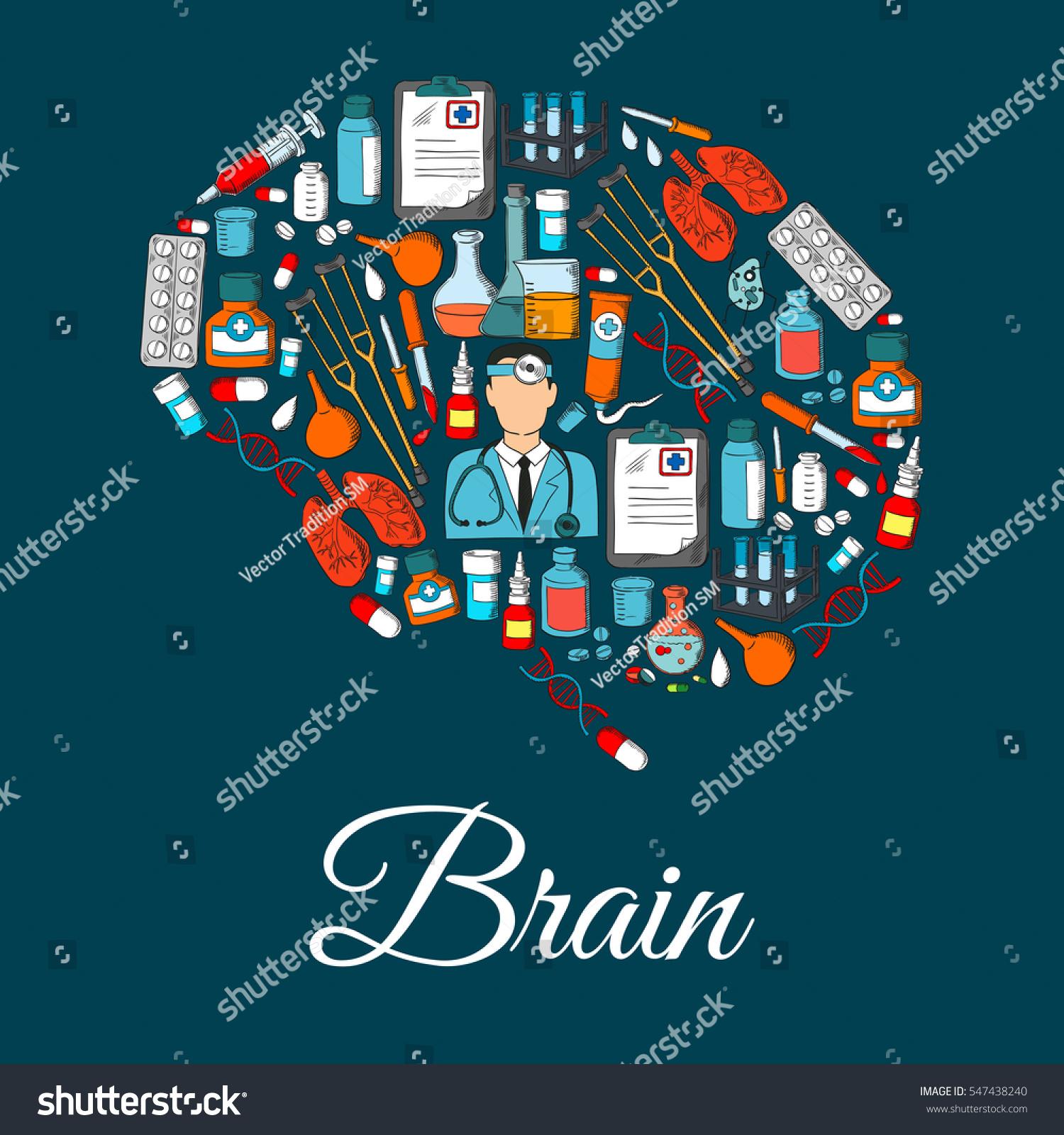 Medicine Items Shape Brain Vector Poster Stock Vector 547438240 ...
