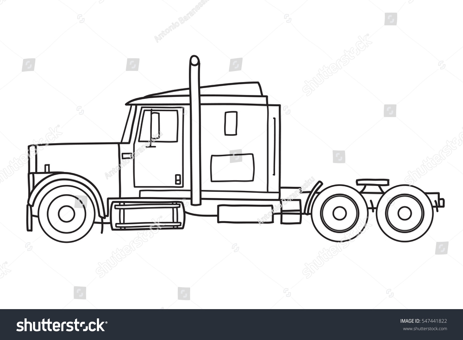 Old semi truck with sleeper towing engine transport american tractor side view vector