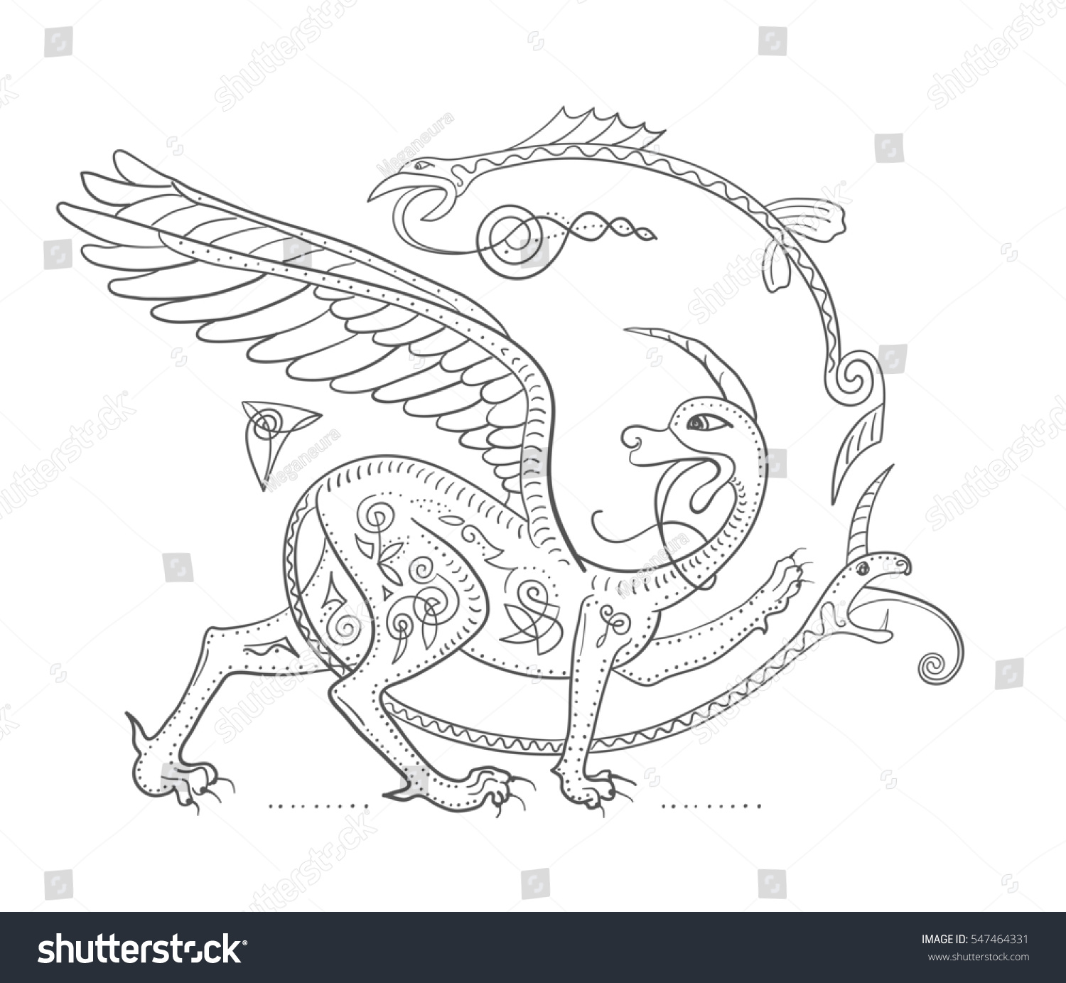 Griffin Fantasy Monster Creature Medieval Style Stock Illustration ...