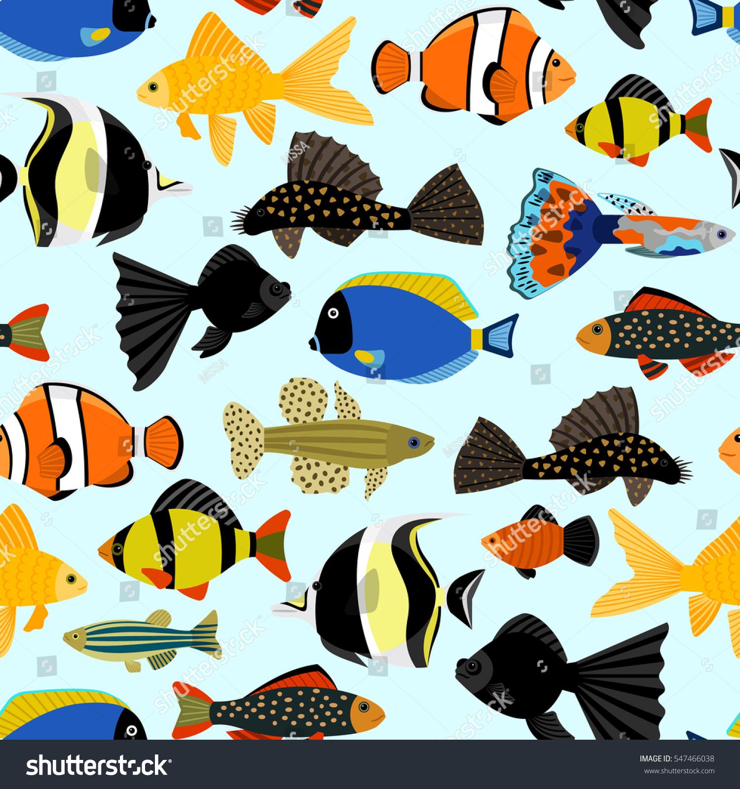 Fishes Seamless Pattern Cute Cartoon Aquarium Stock Vector Royalty